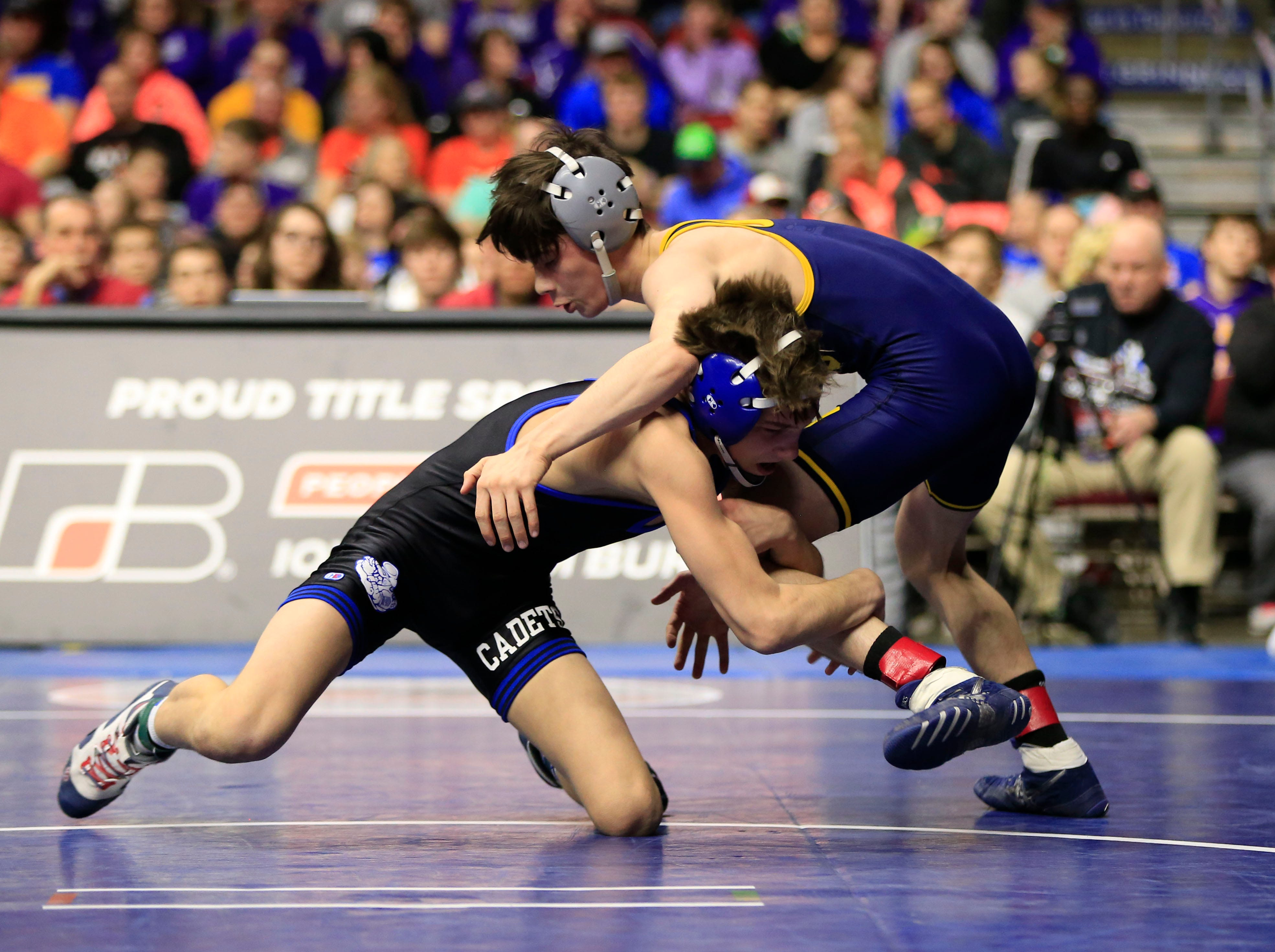 Carter Fousek of Crestwood, Cresco beats Blaine Frazier of Notre Dame, Burlington for the 2A state championship at 106 Saturday, Feb. 16, 2019.