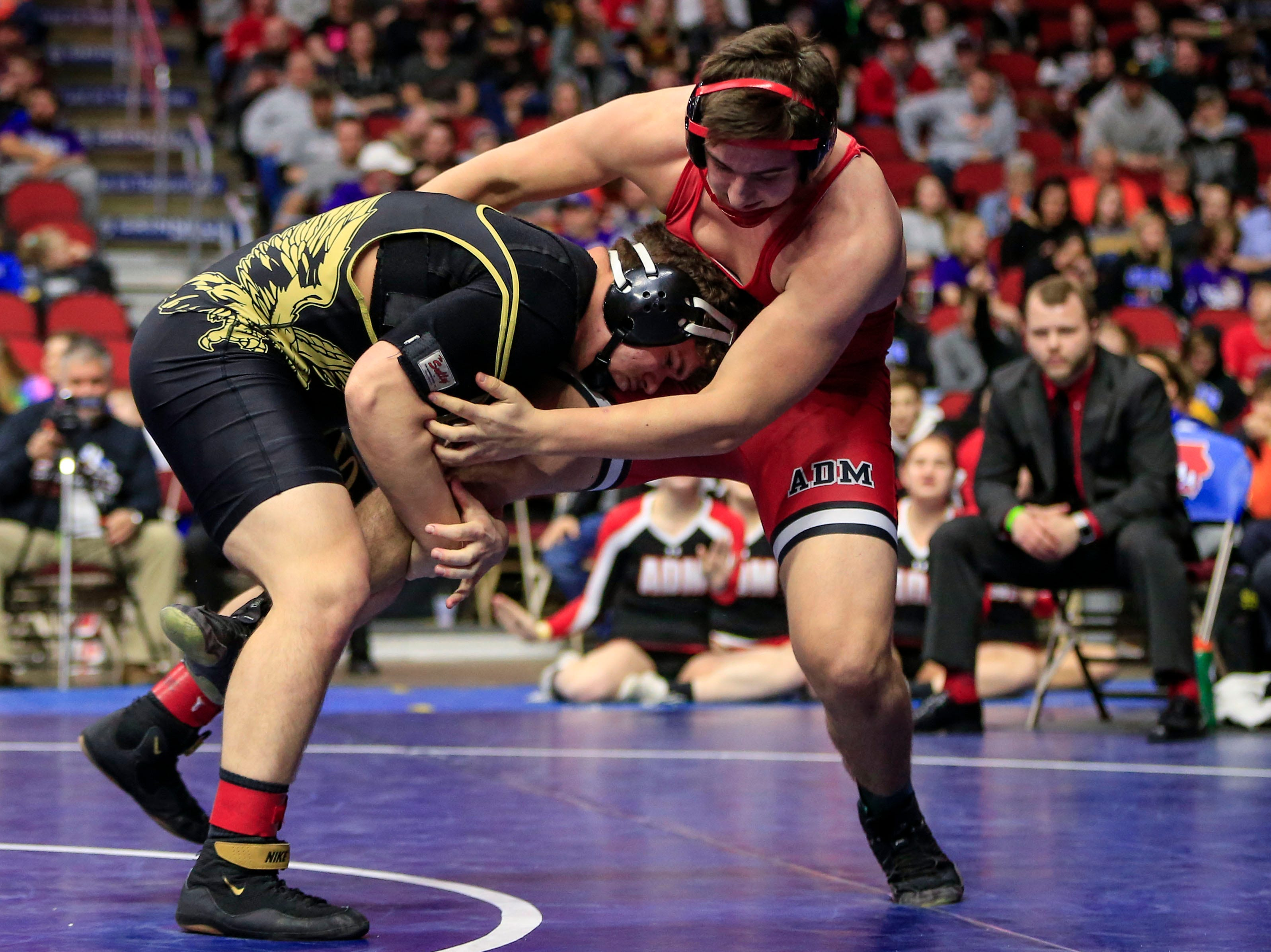 Cody Fisher of Woodward Granger beats Kaden Sutton of ADM, Adel for the 2A state wrestling championship at 220 pounds Saturday, Feb. 16, 2019.
