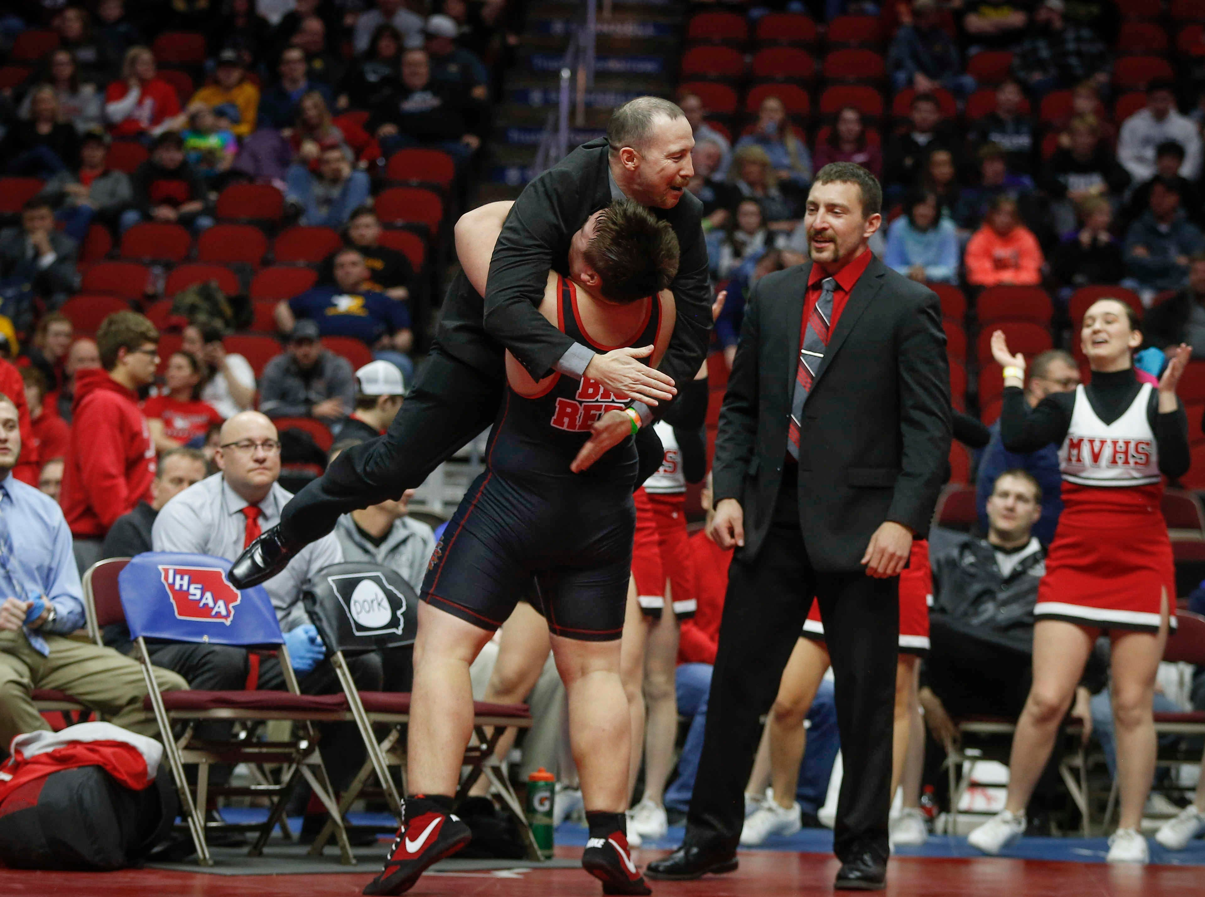 Missouri Valley senior Arron Olson celebrates a Class 1A state title win over Don Bosco senior Noah Pittman at 285 pounds on Saturday, Feb. 16, 2019, at Wells Fargo Arena in Des Moines.