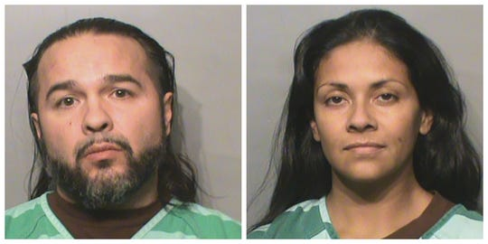 Justin Garfield, left, and Rose Garfield shown in their Polk County mugshots.