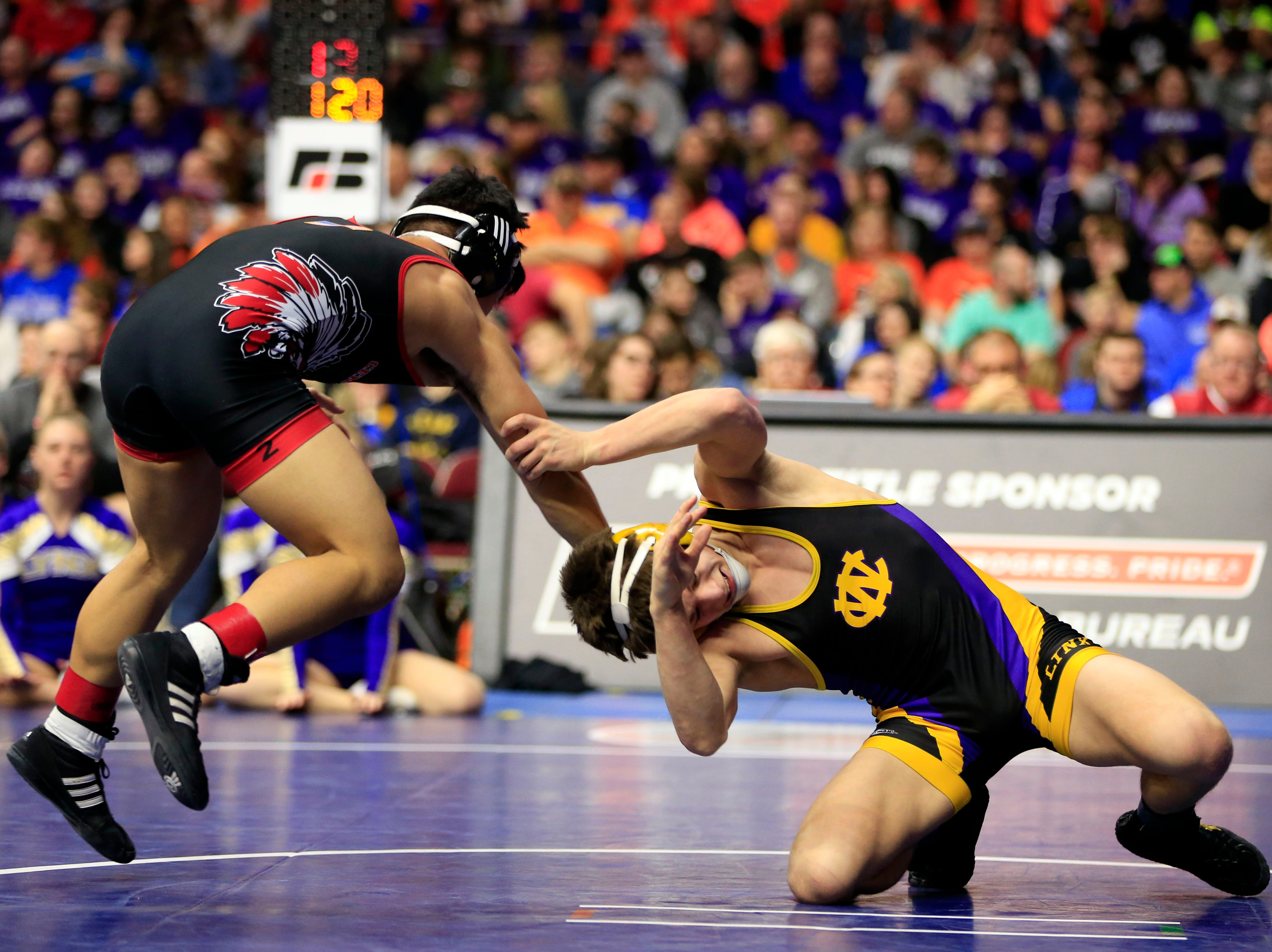 Drake Doolittle of Webster City beats Nathaniel Genobana of Centerville for the 2A state championship at 120 pounds Saturday, Feb. 16, 2019.