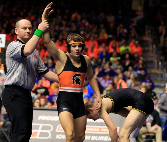 Hayden Taylor of Solon beats Bryce Hatten of Winterset for the 2A state championship at 126 Lb Saturday, Feb. 16, 2019.