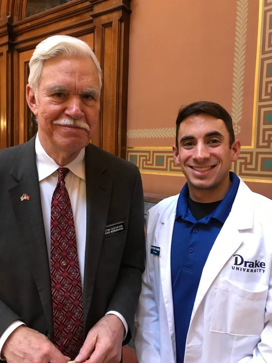 State Rep. Stan Gustafson met with Drake University occupational therapy student Matthew Schimek of Norwalk at the state Capitol last week.