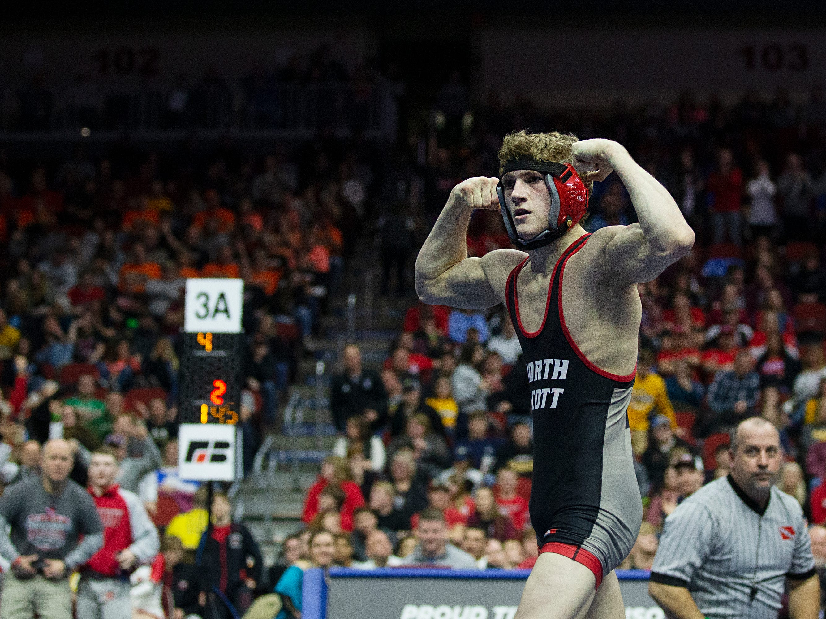 North Scott's Collin Lewis wins the 145 pound Class 3A championship match against Ankeny Centennial's Eric Owens during the Iowa high school state wrestling tournament on Saturday, Feb. 16, 2019, in Wells Fargo Arena.