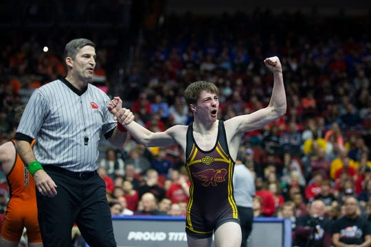 Ankeny's Caleb Rathjen wins the 126 pound Class 3A championship match against West Des Moines Valley's Nick Oldham during the Iowa high school state wrestling tournament on Saturday, Feb. 16, 2019, in Wells Fargo Arena.