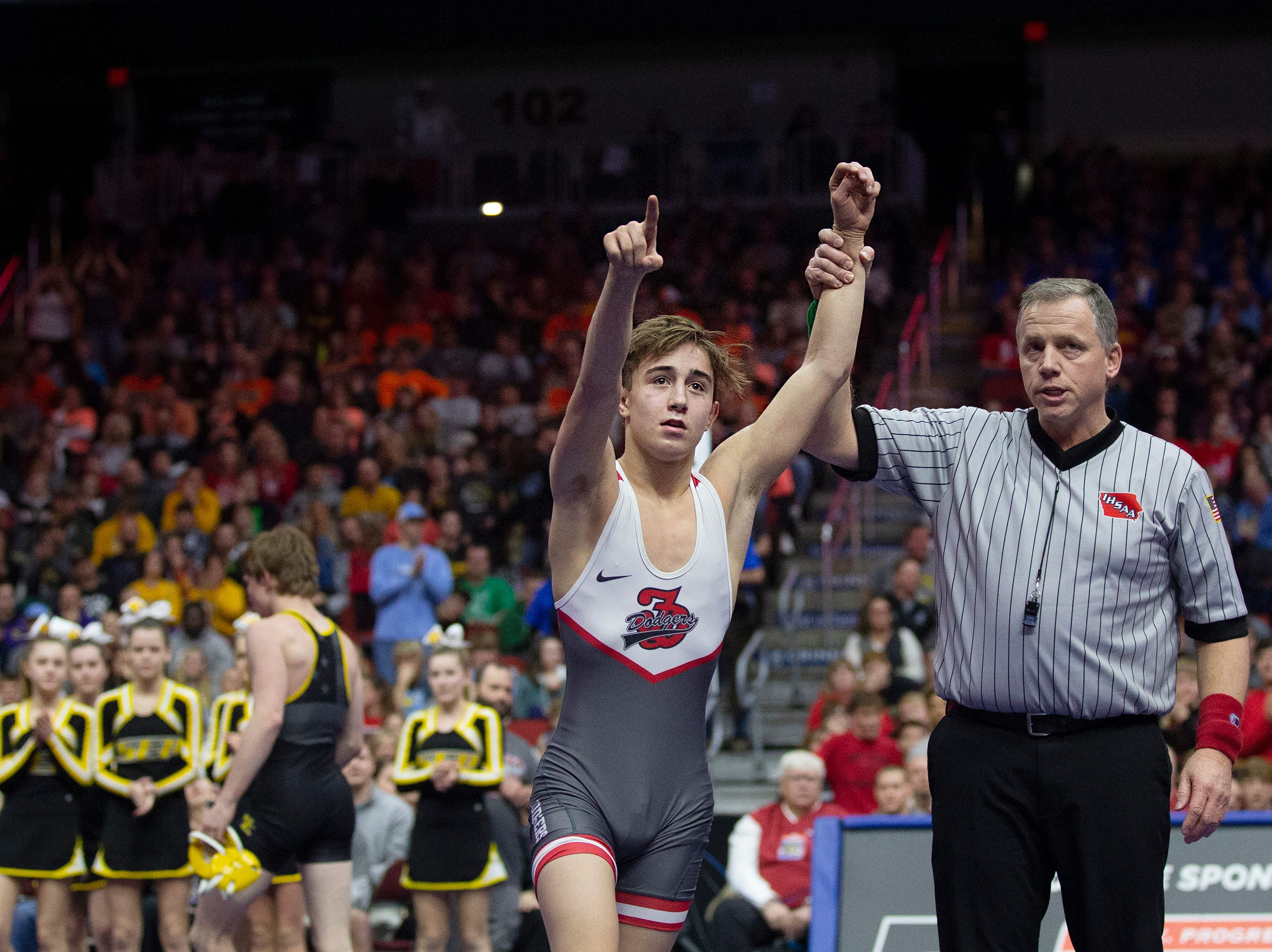 Fort Dodge's Drake Ayala wins the 113 pound Class 3A championship match against Southeast Polk's Devin Harmison during the Iowa high school state wrestling tournament on Saturday, Feb. 16, 2019, in Wells Fargo Arena.