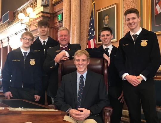 State Rep. Scott Ourth met with members of the Martensdale-St. Marys FFA chapter during Iowa's Future Farmers of America (FFA) Legislative Symposium.