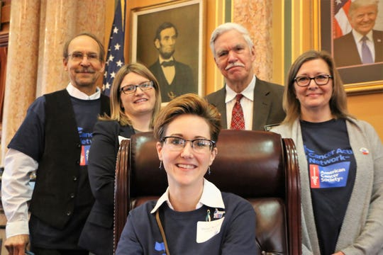 Ron Harling of Winterset, Sara Comstock of Norwalk, Morgan Newman of Winterset and Jennifer Lohner of Norwalk from the American Cancer Action Network met with and state Rep. Stan Gustafson last week at the state Capitol.