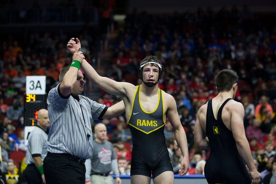Southeast Polk's Cade DeVos wins the 160 pound class 3A championship match against Waverly-Shell Rock's Jacob Herrmann during the Iowa high school state wrestling tournament on Saturday, Feb.16, 2019, in Wells Fargo Arena.