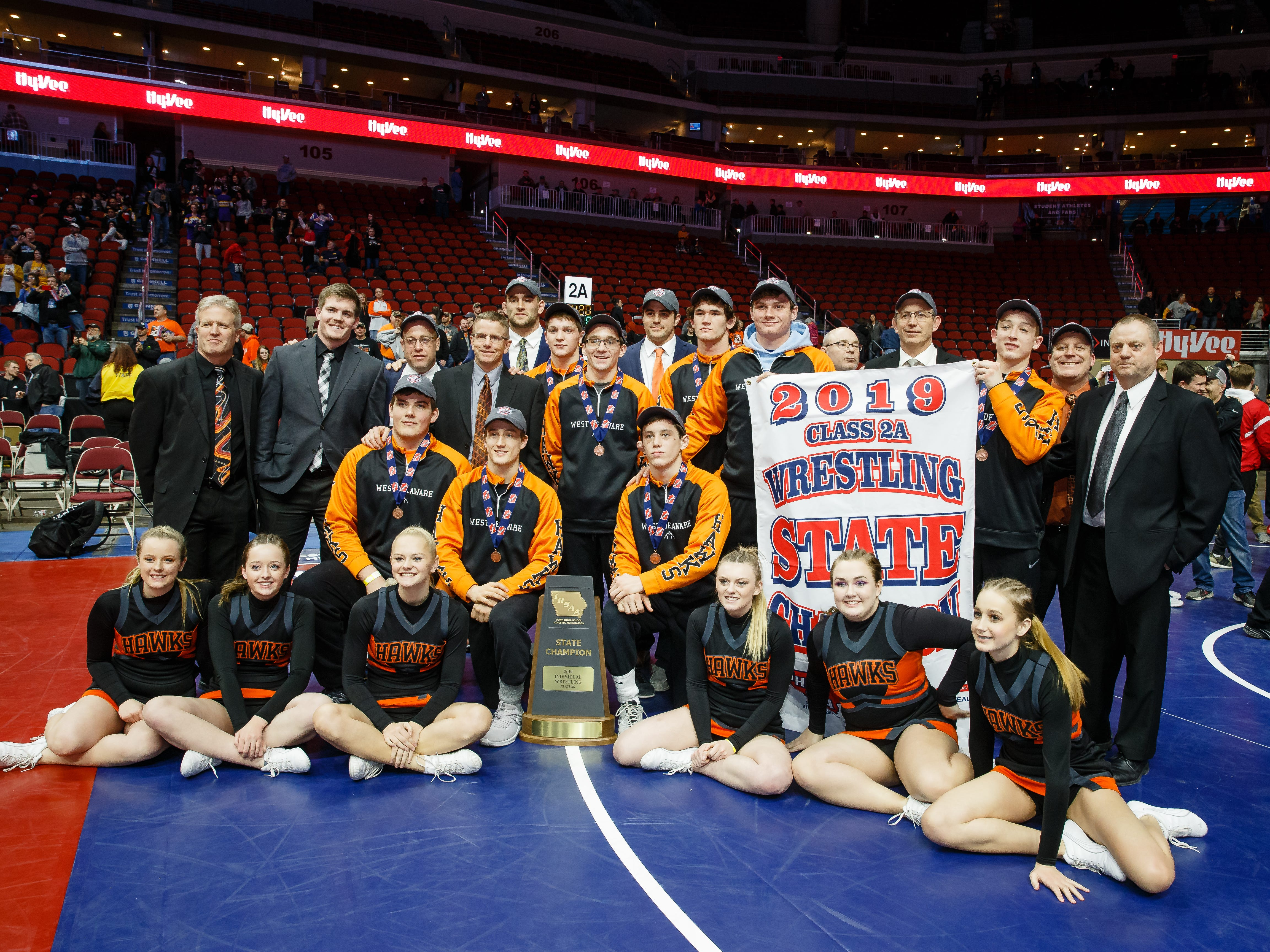 West Delaware poses for a photo after winning the 2A traditional team championship at the Iowa state wrestling championships on Saturday, Feb. 16, 2019 in Des Moines.