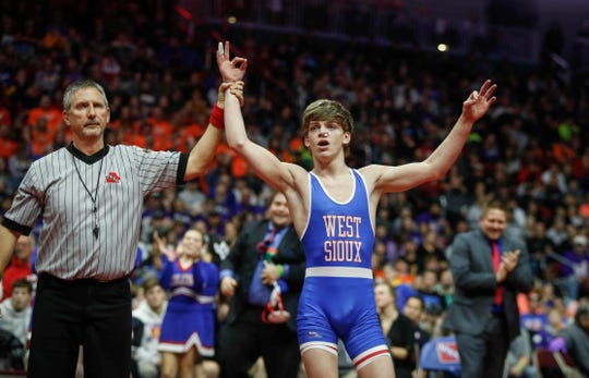 West Sioux junior Adam Allard won a Class 1A state title at 120 pounds over Don Bosco senior Daniel Kimball on Saturday, Feb. 16, 2019, at Wells Fargo Arena in Des Moines.