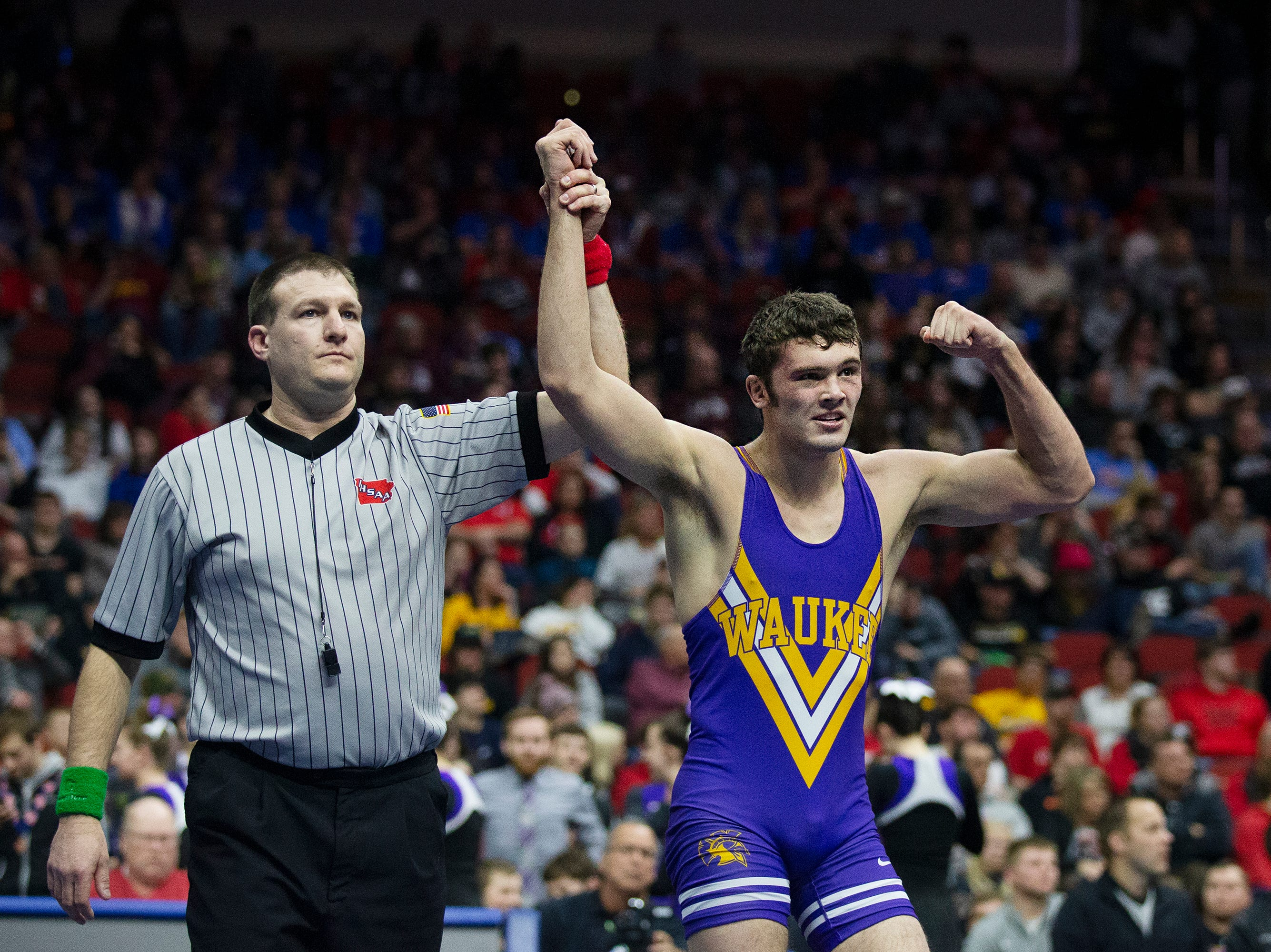 Waukee's Anthony Zach wins the 170 pound class 3A championship match against Ankeny Centennial's Logan Neils during the Iowa high school state wrestling tournament on Saturday, FEB.16, 2019, in Wells Fargo Arena.