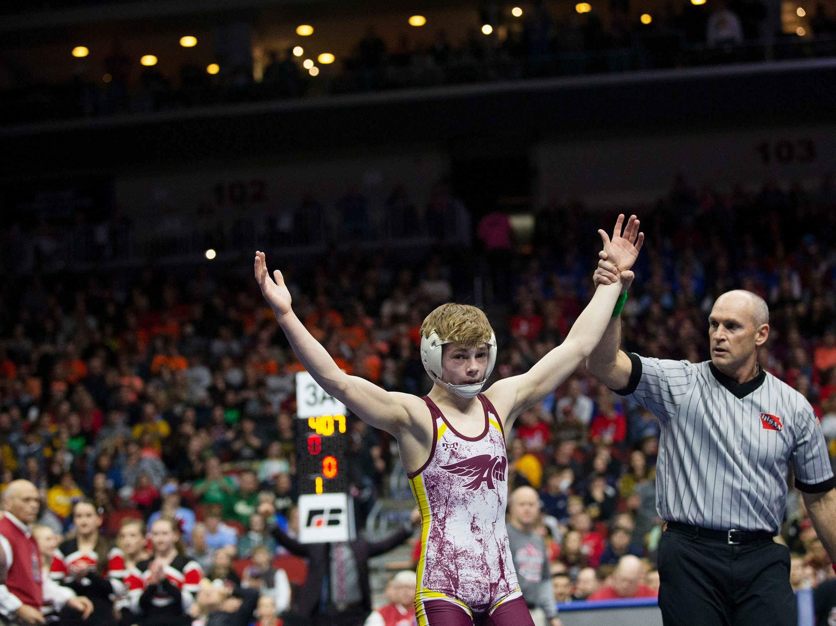 Ankeny's Trever Anderson wins the 106 pound Class 3A championship match against Mason City's Jace Rhodes during the Iowa high school state wrestling tournament on Saturday, Feb. 16, 2019 in Wells Fargo Arena.