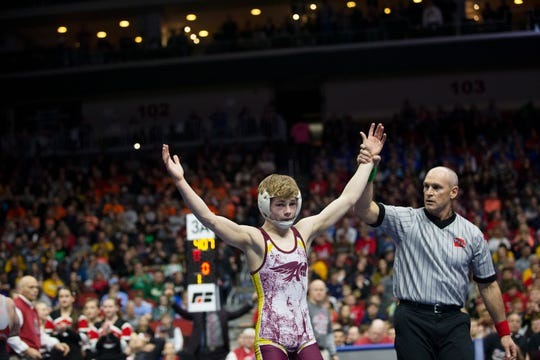 Ankeny's Trever Anderson won the 106-pound Class 3A championship match last February.
