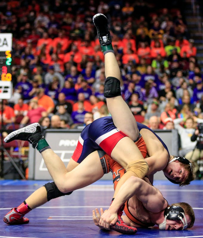 Skyler Noftsger of Ballard beats Justin McCunn of Red Oak for the 2A state wrestling championship at 160 pounds Saturday, Feb. 16, 2019.