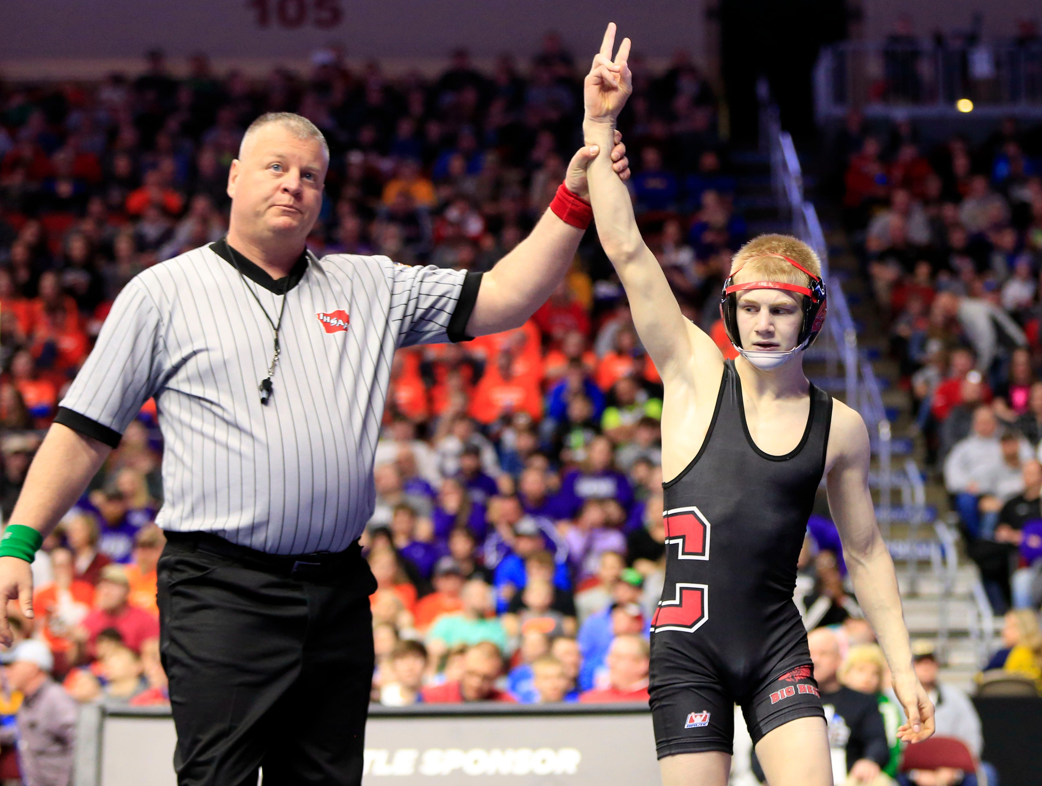Matthew Lewis of Centerville beats Isaiah Weber of Independence for the 2A state championship at 113 pounds Saturday, Feb. 16, 2019.