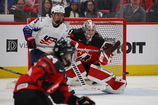 1130333164.jpg DETROIT, MICHIGAN - FEBRUARY 17:  Shannon Szabados #1 of Canada eyes the puck with Alex Carpenter #25 of the United States looking to re direct the puck during the second period at Little Caesars Arena on February 17, 2019 in Detroit, Michigan. (Photo by Gregory Shamus/Getty Images)