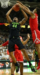 Michigan State forward Nick Ward is fouled by Ohio State forward Andre Wesson during the first half of MSU's 62-44 win on Sunday, Feb. 17, 2019, in East Lansing.