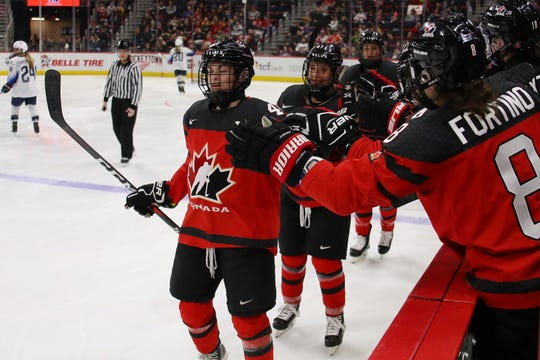 1130331066.jpg DETROIT, MICHIGAN - FEBRUARY 17:  Blayre Turnbull #40 of Canada celebrates her second period goal while playing of the United States at Little Caesars Arena on February 17, 2019 in Detroit, Michigan. (Photo by Gregory Shamus/Getty Images)