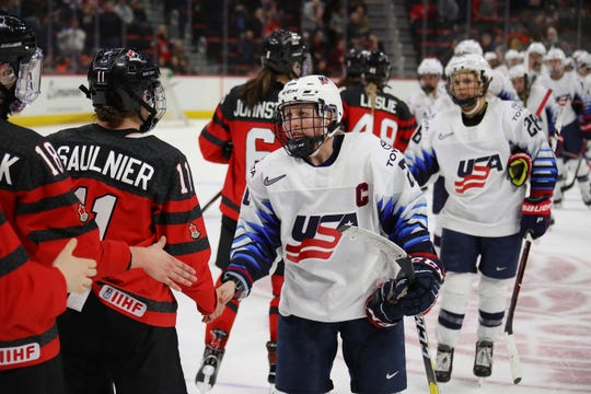 1130339553.jpg DETROIT, MICHIGAN - FEBRUARY 17:  Kendall Coyne Schofield #26 of the United States shakes hands after a 0-2 loss over of Canada at Little Caesars Arena on February 17, 2019 in Detroit, Michigan. (Photo by Gregory Shamus/Getty Images)