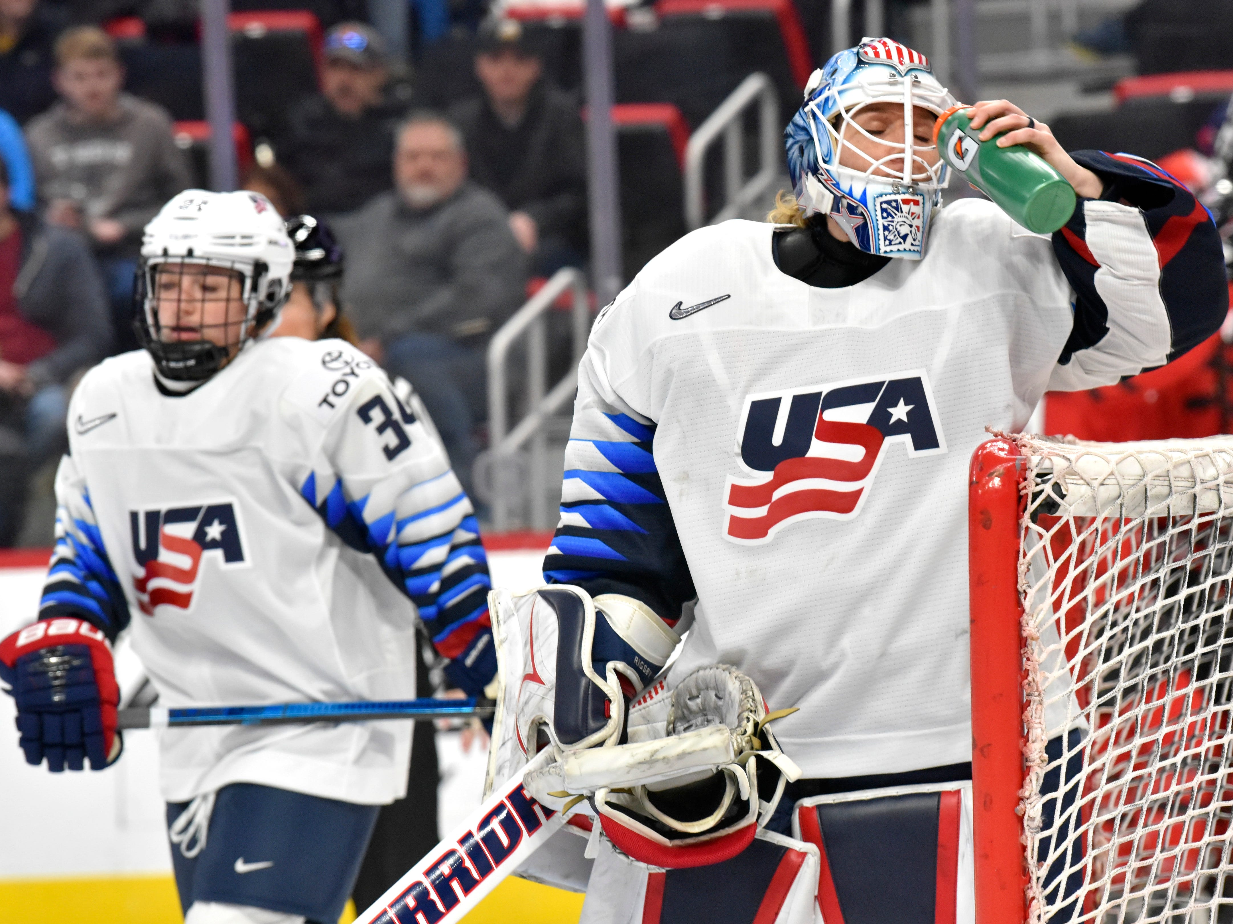 U.S. goalie Alex Rigsby(33) takes a drink after the puck gets past her in the second period for Canada's second goal.   XXXXduring second and third period action between the U.S. Women's National Hockey Team and Canada's National Women's Team at Little Caesars Arena in Detroit during the 2019 Rivalry Series, Sunday afternoon, February 17, 2019. Canada wins, 2-0. (Todd McInturf, The Detroit News)2019.