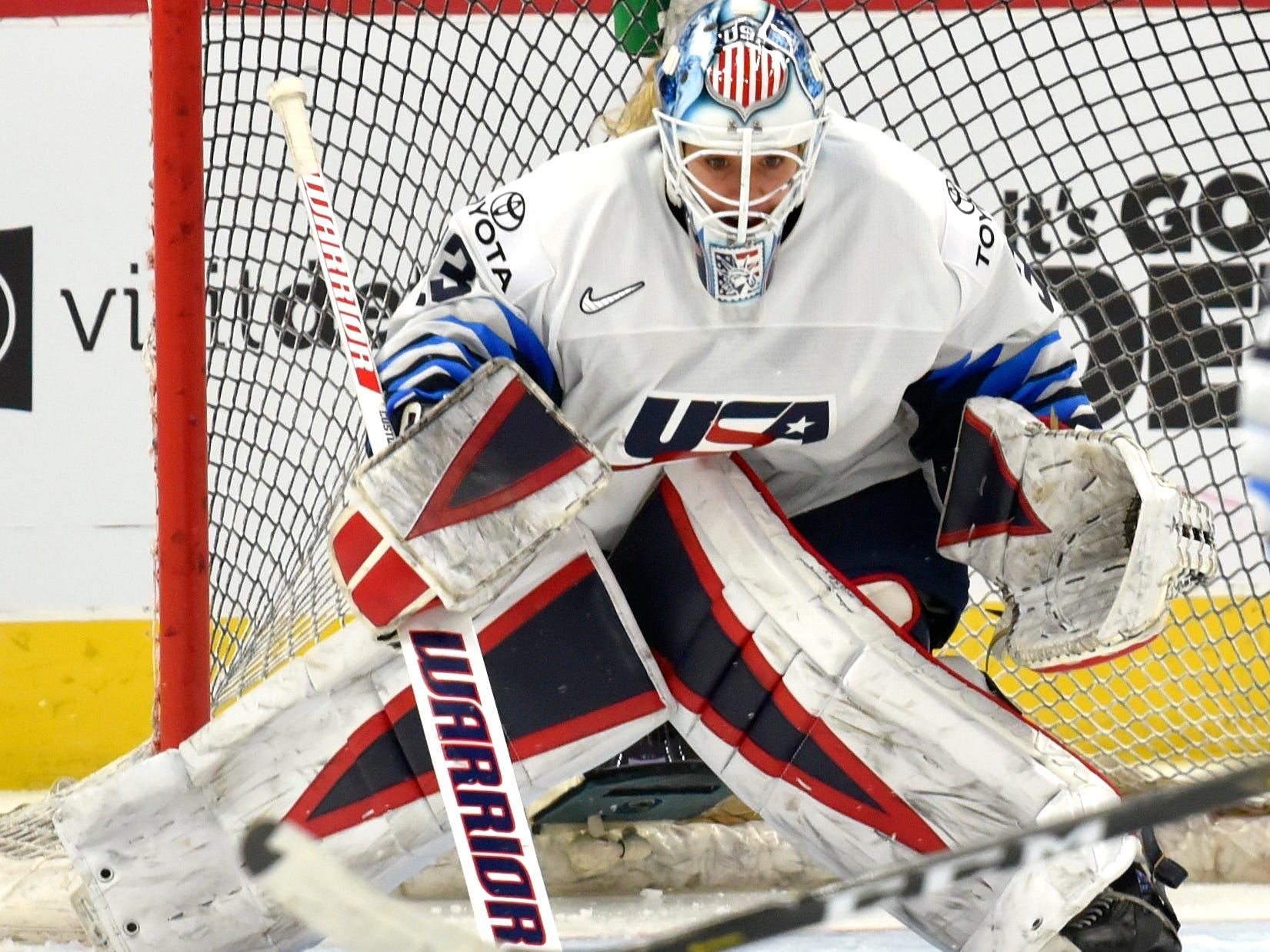 U.S. goalie Alex Rigsby(33) makes a save in the third period.