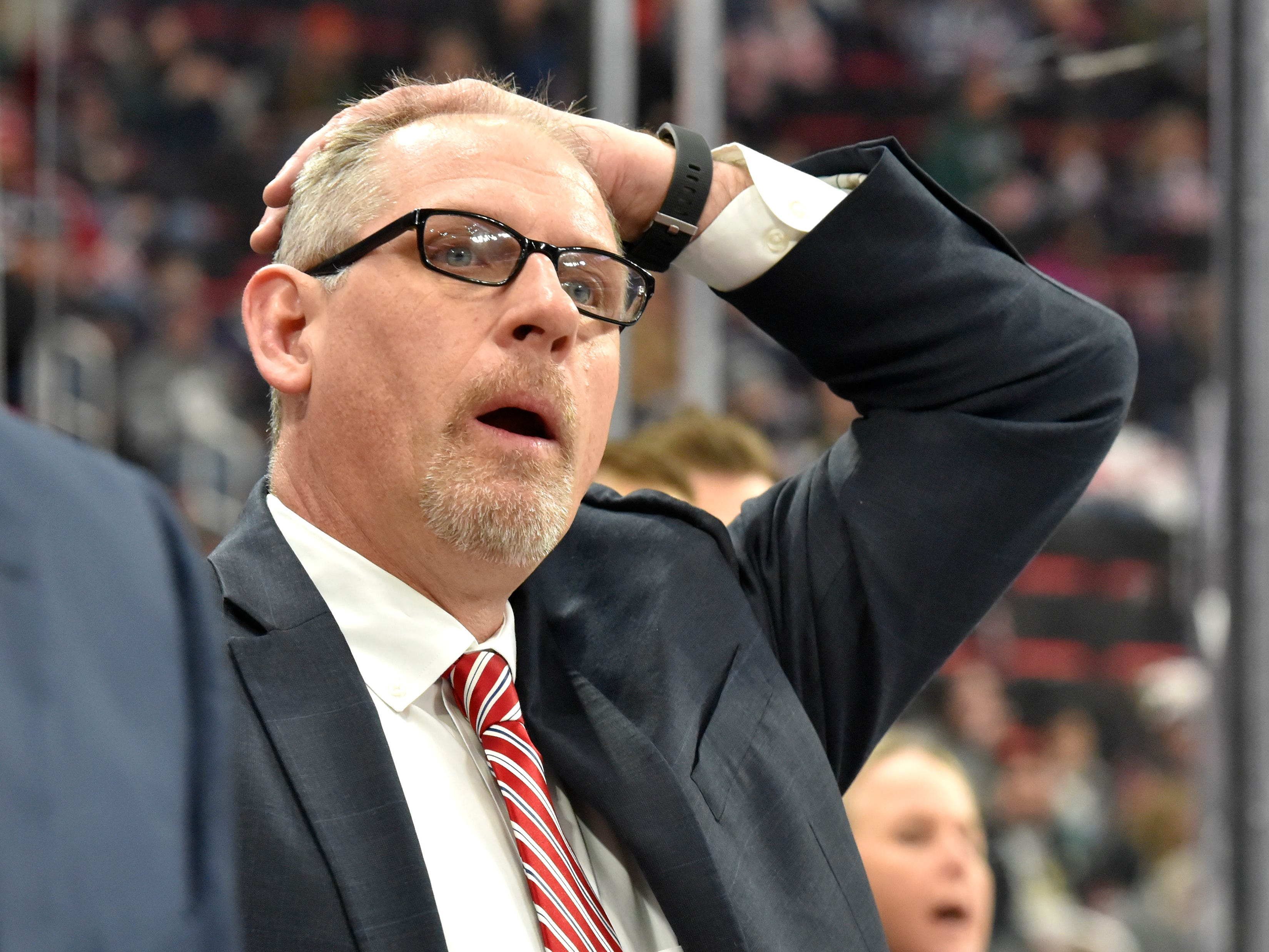 U.S. head coach Bob Corkum reacts at the beginning of the third period.