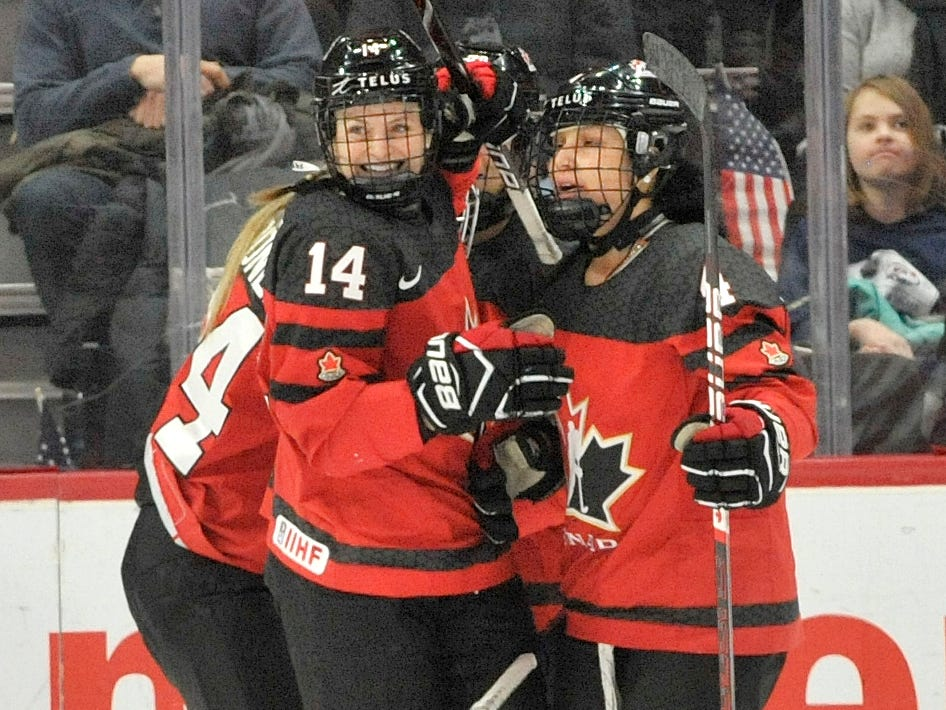 Canada celebrates their goal in the first period.