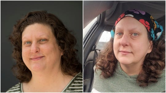 Aimee Blume. Left to right: Before Keto diet; after Keto diet
