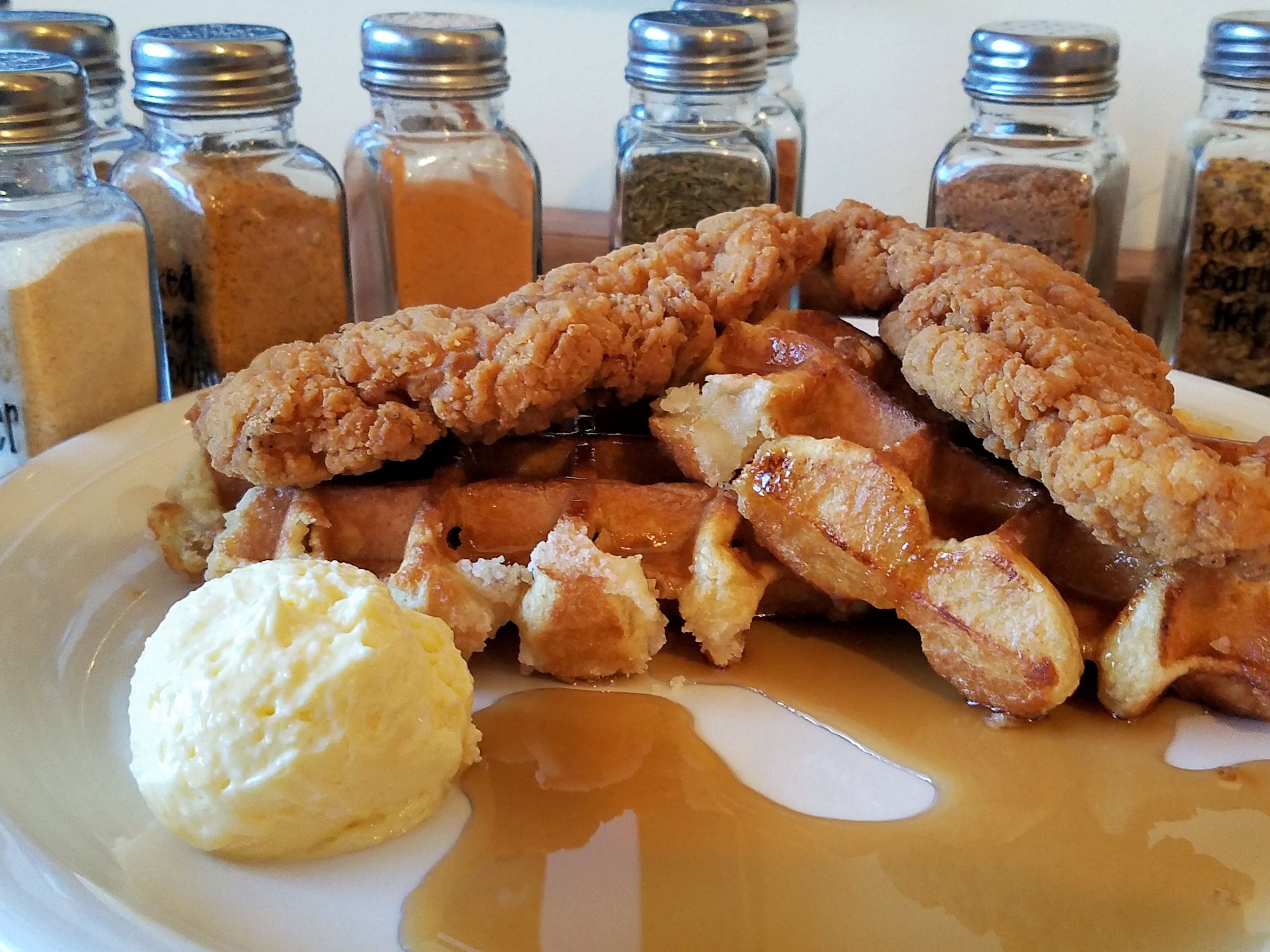 Chicken and waffles at Hawg N Sauce Saturday brunch.