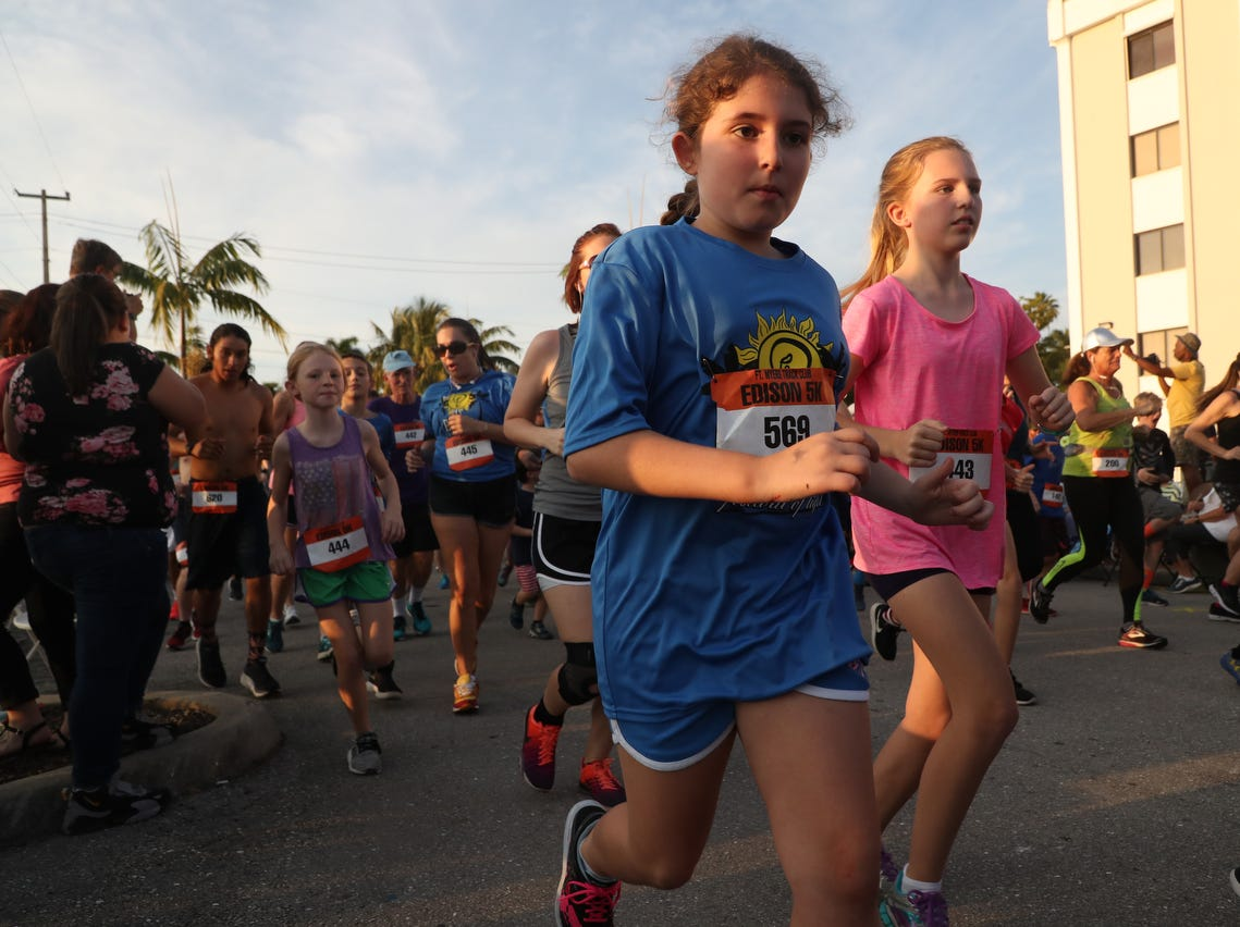 Images from the Edison Festival of Light  5k run in downtown Fort Myers on Saturday 2/16/2019. Ryan Stafford was the male winner in 16:20 and Tania Canterbury was female winner in 18:00.