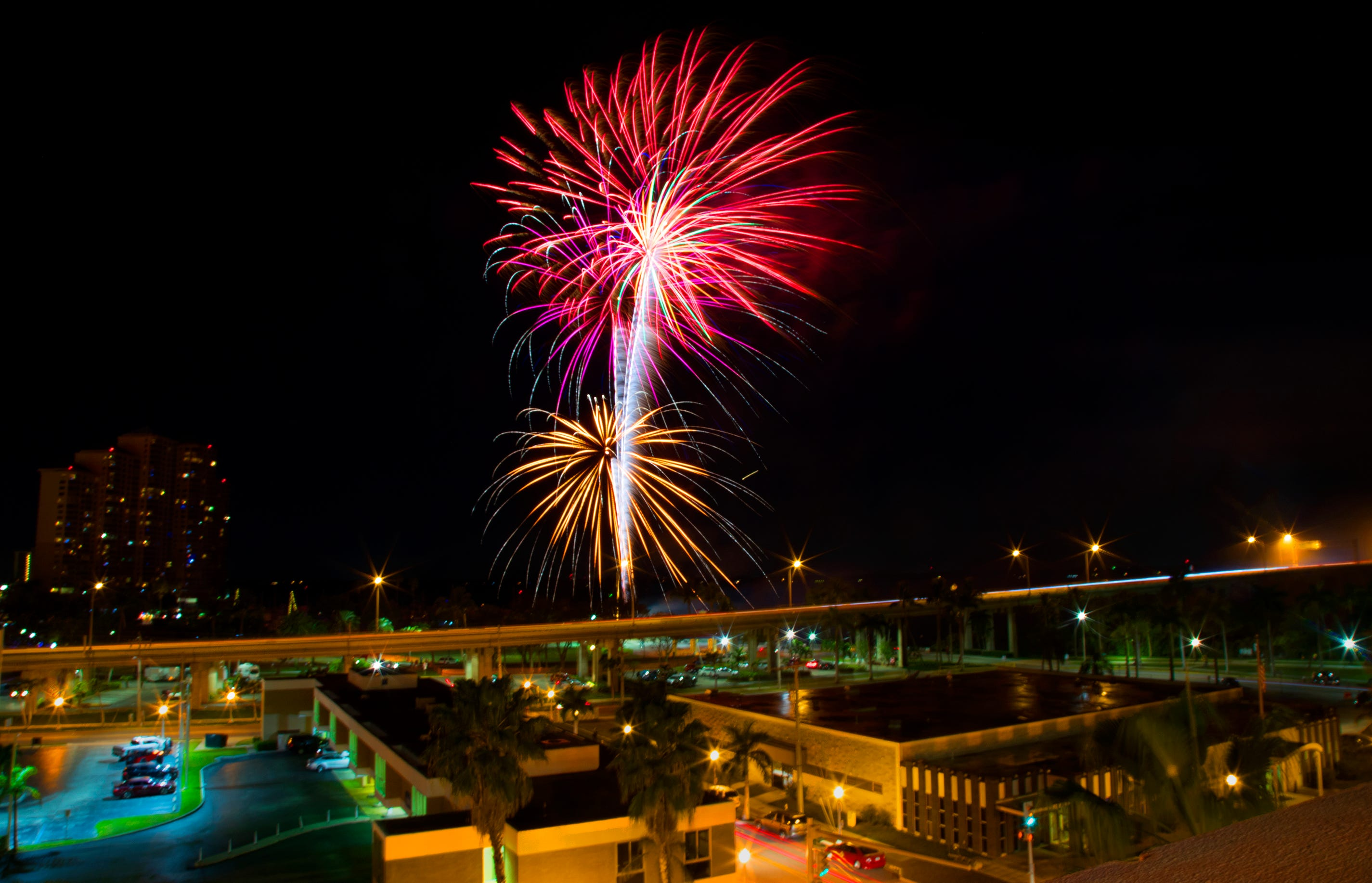 The Edison Festival of Light fireworks show illuminates Centennial Park recently in downtown Fort Myers.