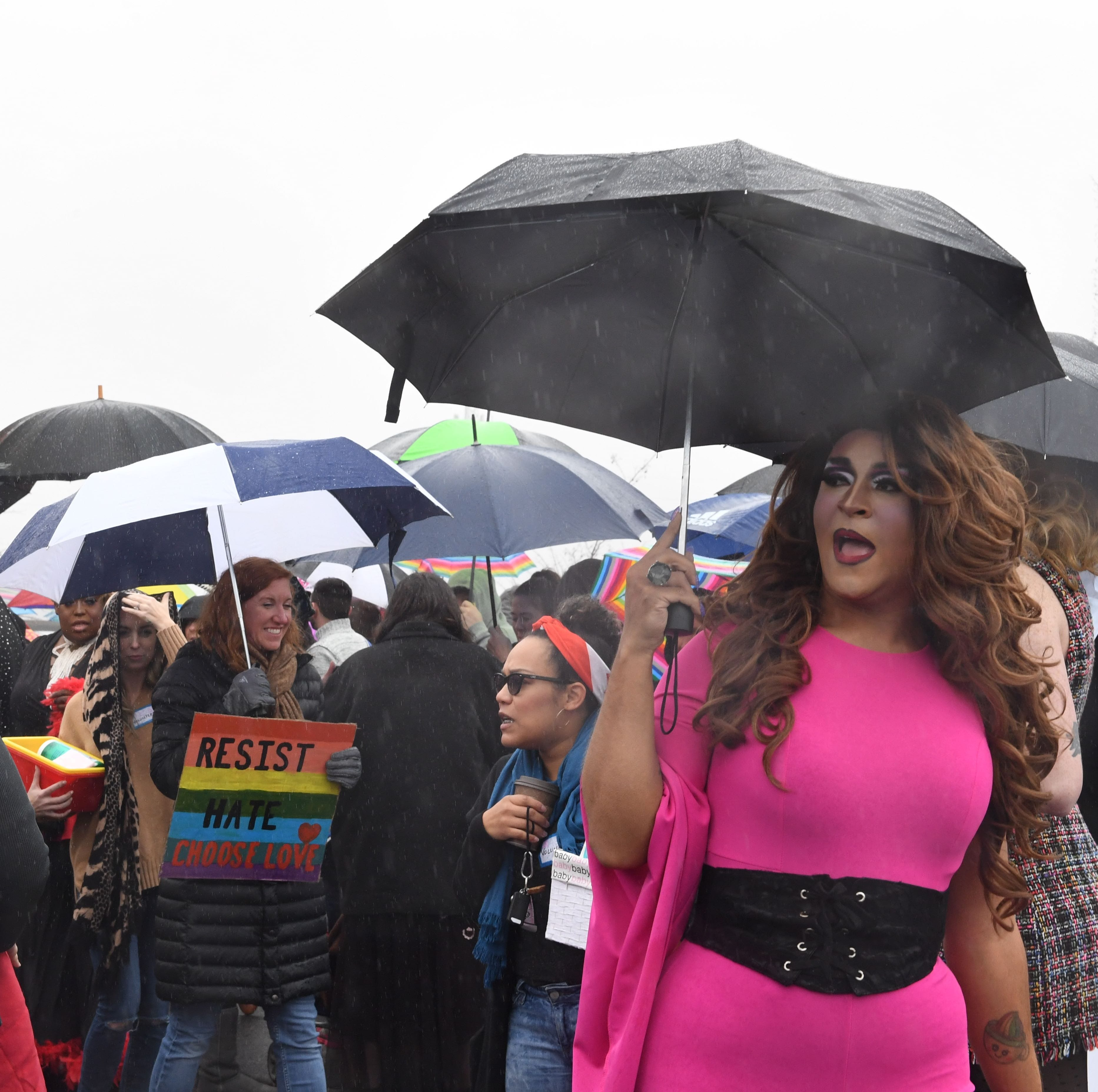 Hundreds hold competing protests at Drag Queen Story Hour as deputies block media entry
