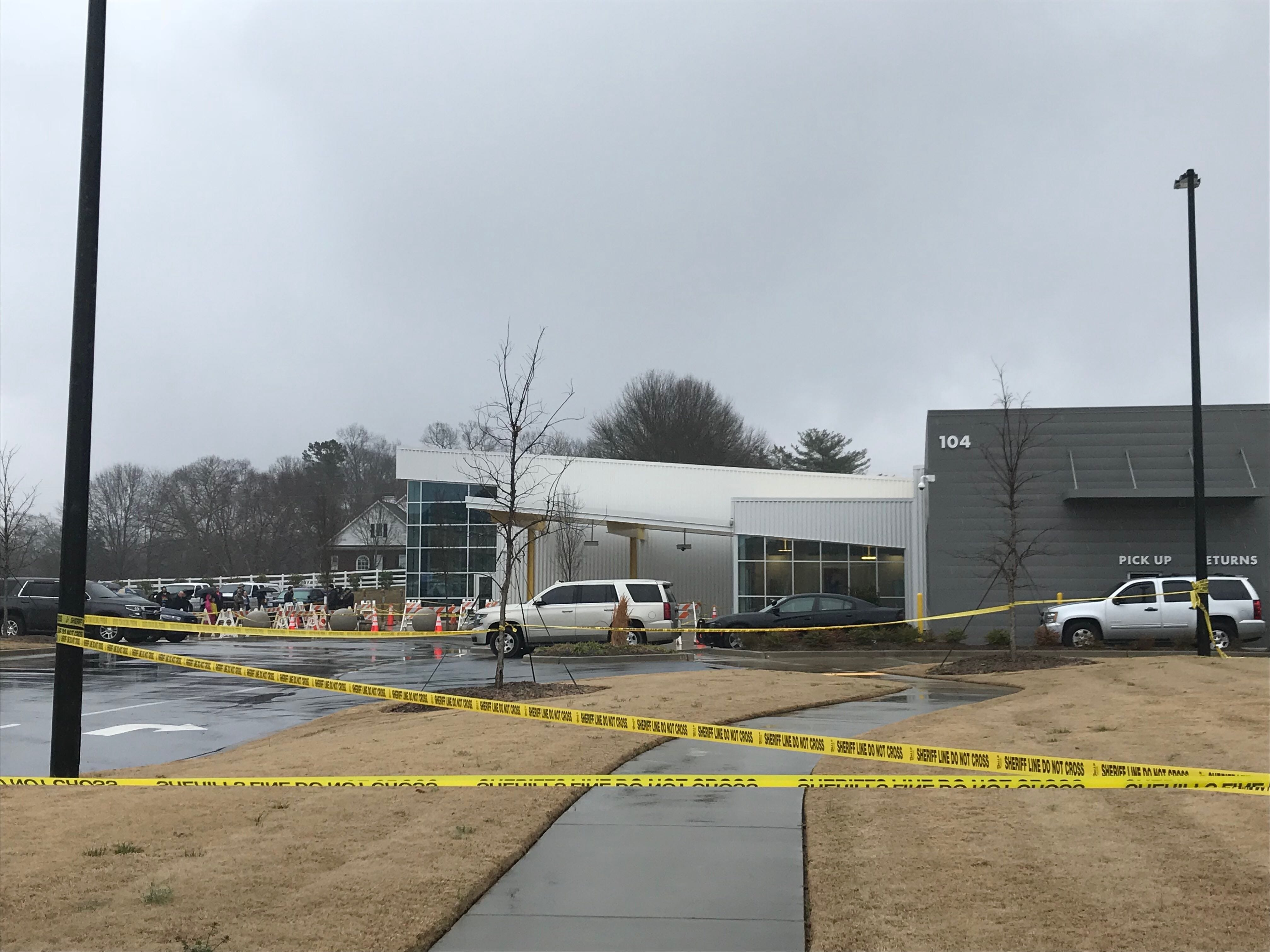 The scene outside Five Forks library ahead of the Drag Queen story hour around 2:30 p.m. Sunday, Feb. 17, 2019. The event is scheduled to begin at 3 p.m.