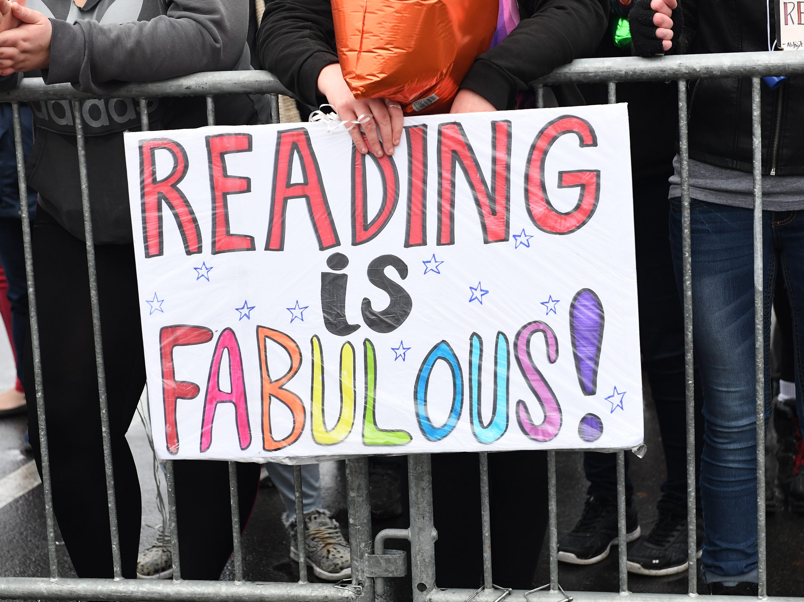 Signs in support of Drag Queen Story Hour at Five Forks Branch Library Sunday, Feb. 17, 2019.