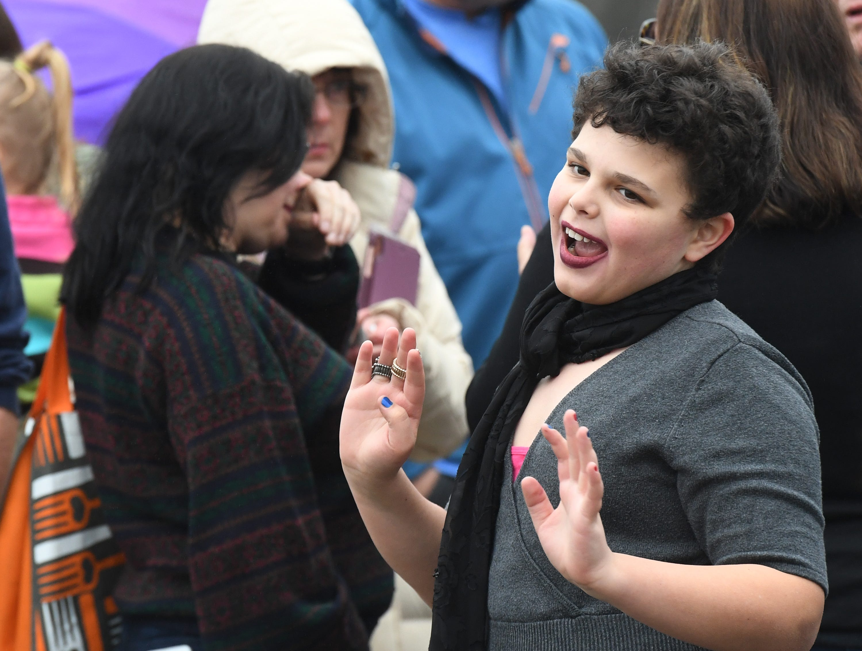 Luca Blocher, 11, of Greenville, waits in line for Drag Queen Story Hour at Five Forks Branch Library Sunday, Feb. 17, 2019.
