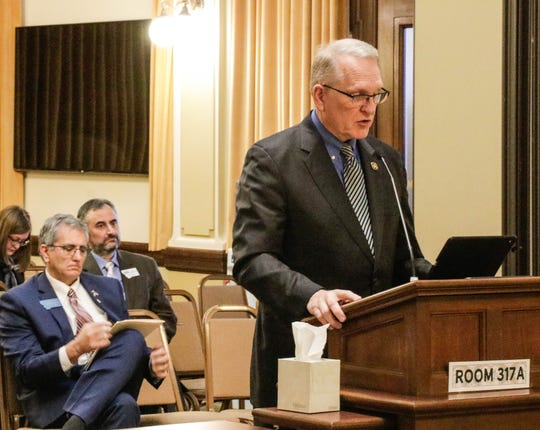 Attorney General Tim Fox testifies Feb. 11 in support of a bill to restrict opiate prescriptions in the Senate Public Health, Welfare and Safety Committee.