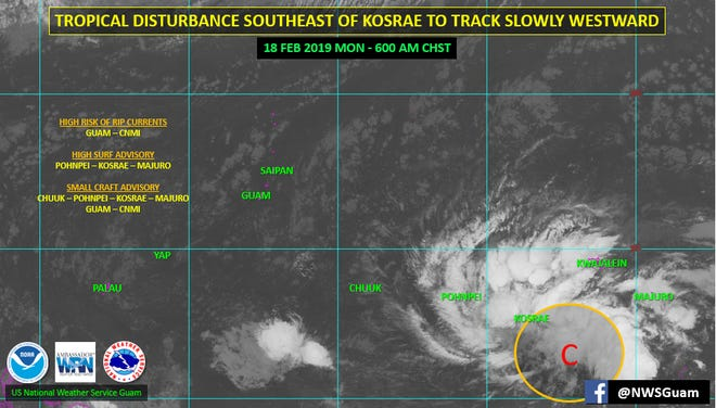 Forecasters are monitoring a tropical disturbance to the southeast of Kosrae.