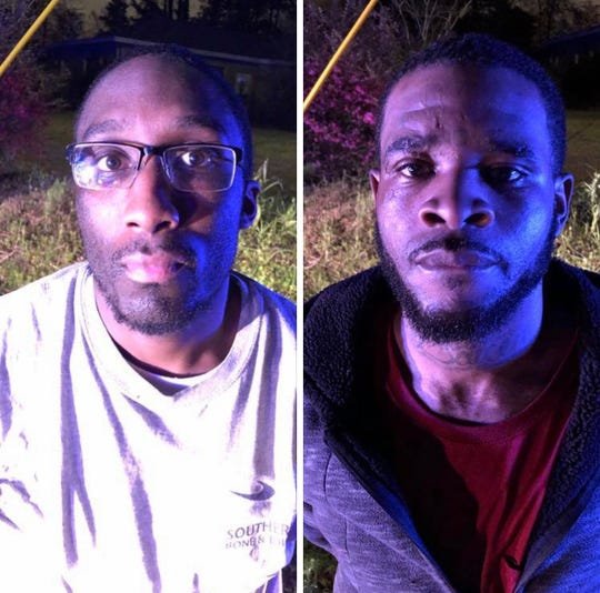 Escaped inmates Carlos Sibley, left, and Donaven Harris were captured Saturday night in Hattiesburg.