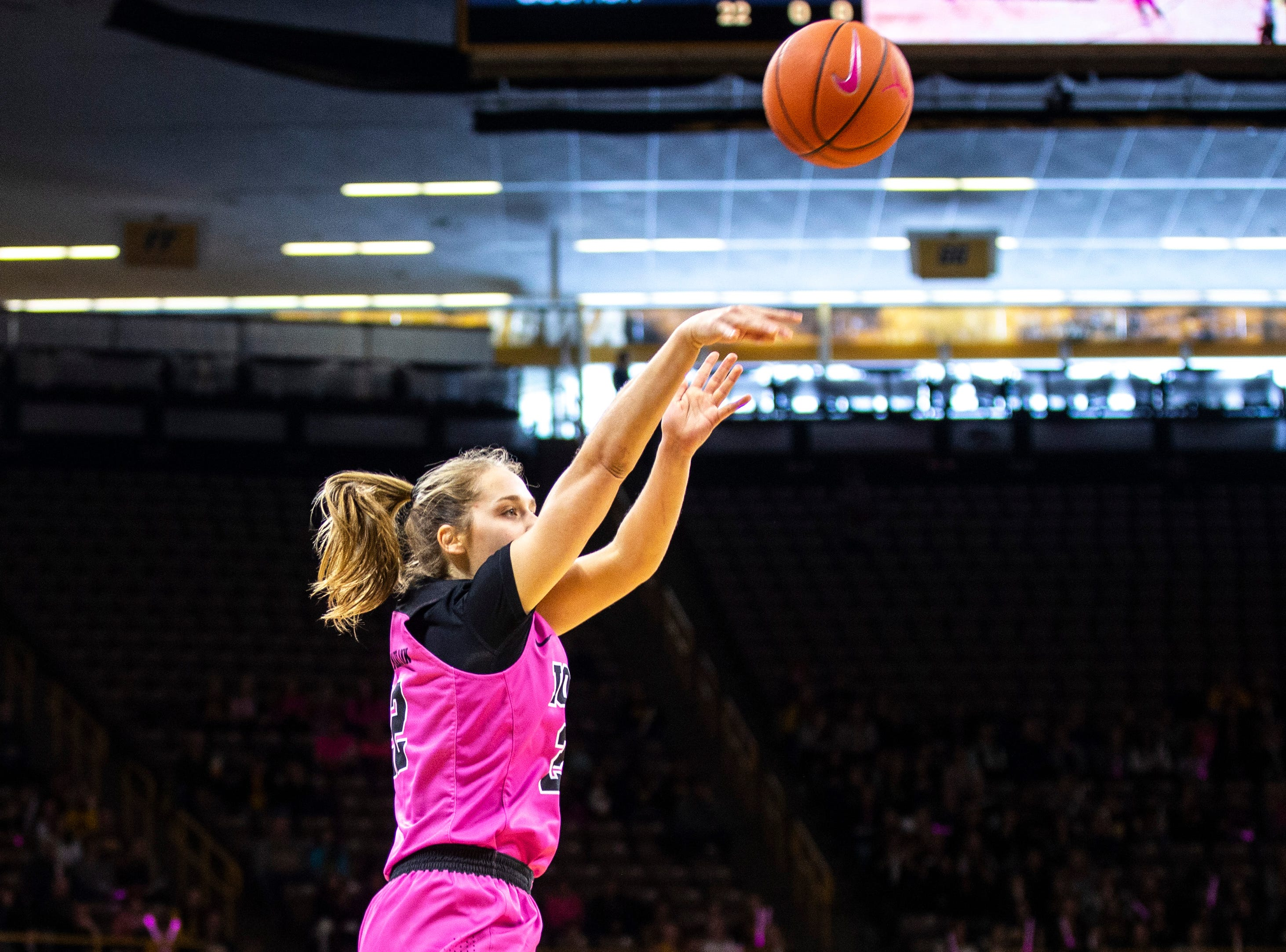 Iowa guard Kathleen Doyle (22) attempts a 3-point basket during a NCAA Big Ten Conference women's basketball game on Sunday, Feb. 17, 2019 at Carver-Hawkeye Arena in Iowa City, Iowa.