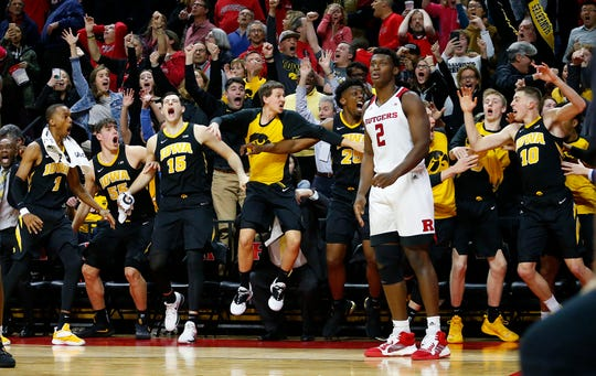 Feb 16, 2019; Piscataway, NJ, USA; Rutgers Scarlet Knights center Shaquille Doorson (2) reacts after Iowa Hawkeyes guard Joe Wieskamp (10) made the game-winning basket during the second half at Rutgers Athletic Center (RAC). The Iowa Hawkeyes defeated the Rutgers Scarlet Knights 71-69.