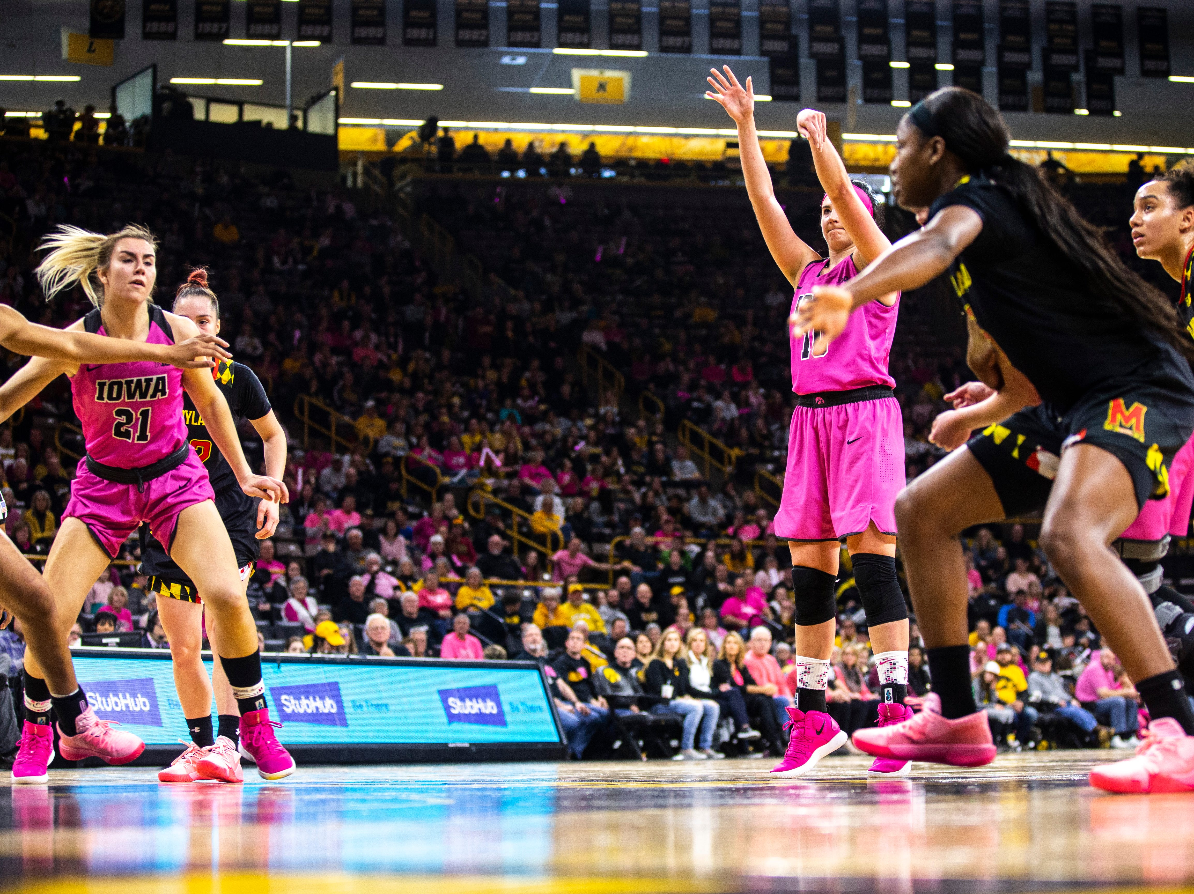 Iowa center Megan Gustafson (10) shoots a free throw during a NCAA Big Ten Conference women's basketball game on Sunday, Feb. 17, 2019 at Carver-Hawkeye Arena in Iowa City, Iowa.