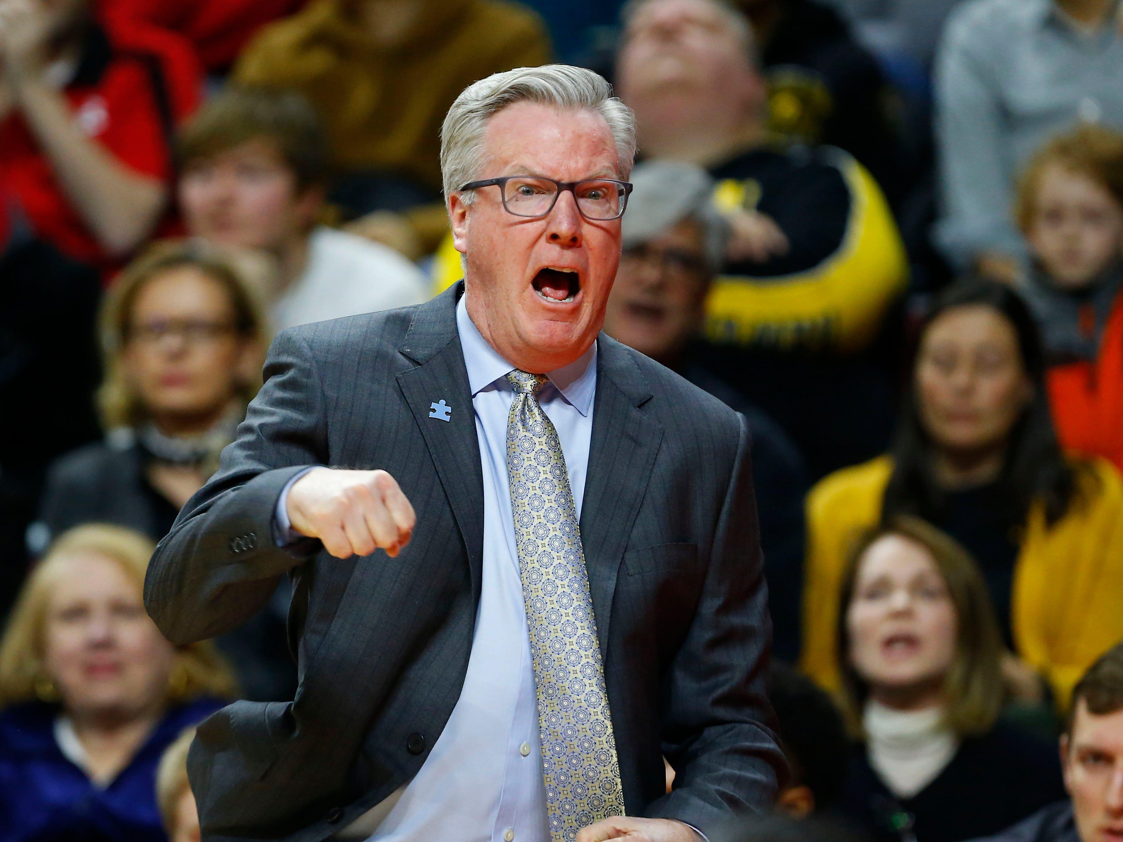 Iowa Hawkeyes head coach Fran McCaffery reacts to play against Rutgers Scarlet Knights during the first half at Rutgers Athletic Center (RAC). Mandatory Credit: Noah K. Murray-USA TODAY Sports
