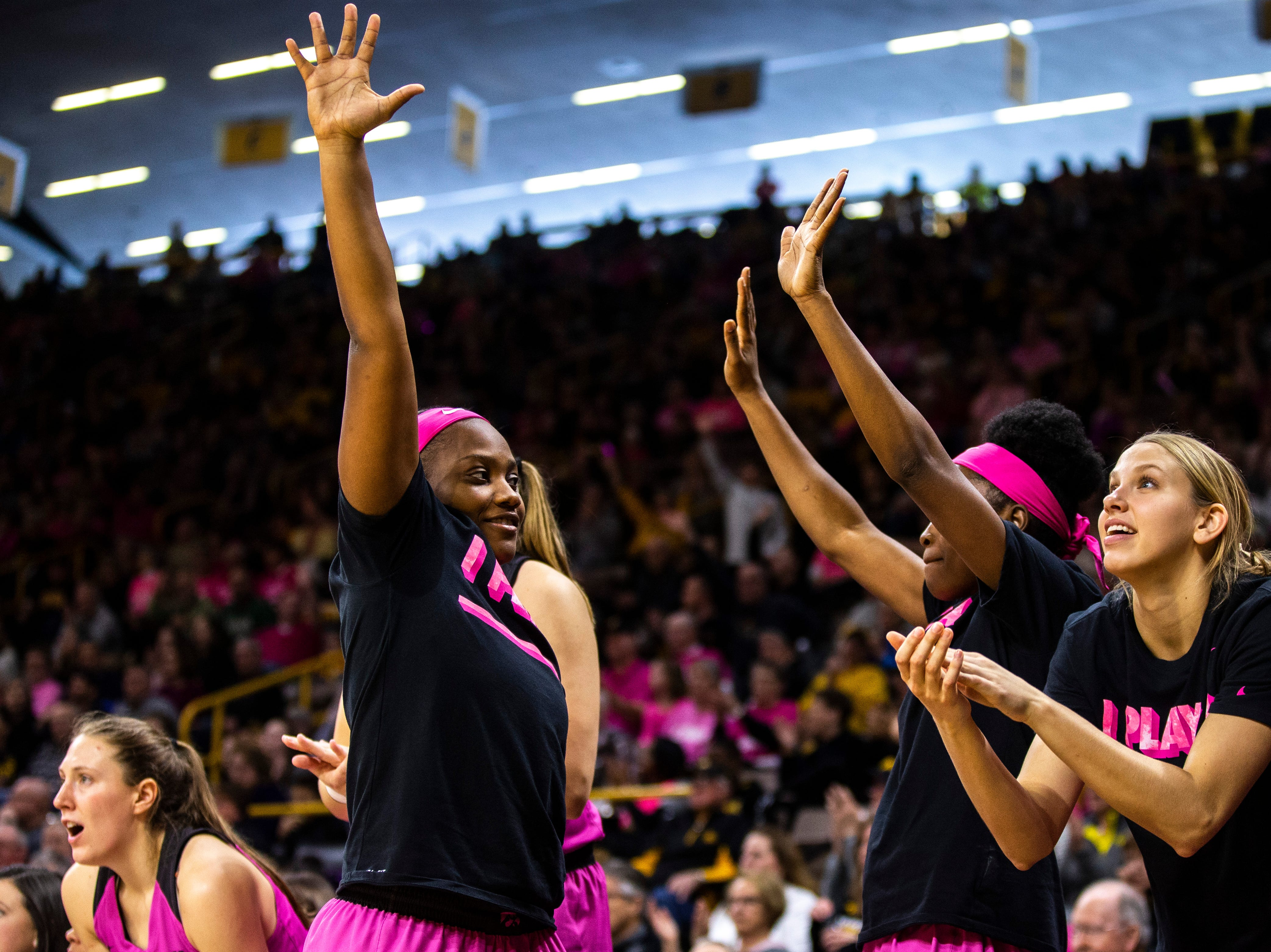 Iowa guard Zion Sanders holds up five fingers after a Maryland player fouled out during a NCAA Big Ten Conference women's basketball game on Sunday, Feb. 17, 2019 at Carver-Hawkeye Arena in Iowa City, Iowa.