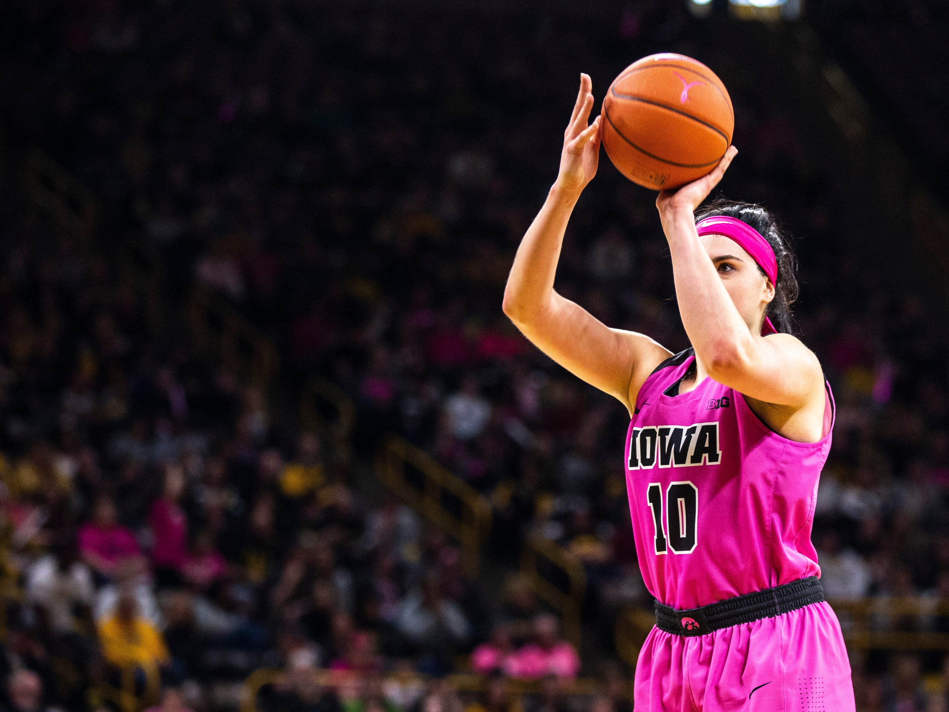 Iowa center Megan Gustafson (10) attempts a free throw during a NCAA Big Ten Conference women's basketball game on Sunday, Feb. 17, 2019 at Carver-Hawkeye Arena in Iowa City, Iowa.