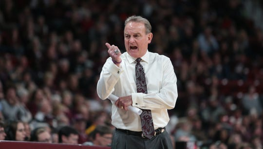 Mississippi State's Vic Schaefer yells instructions to his team in the second half. Mississippi State and Missouri played in an SEC women's basketball game on Thursday, February 14, 2019. Photo by Keith Warren