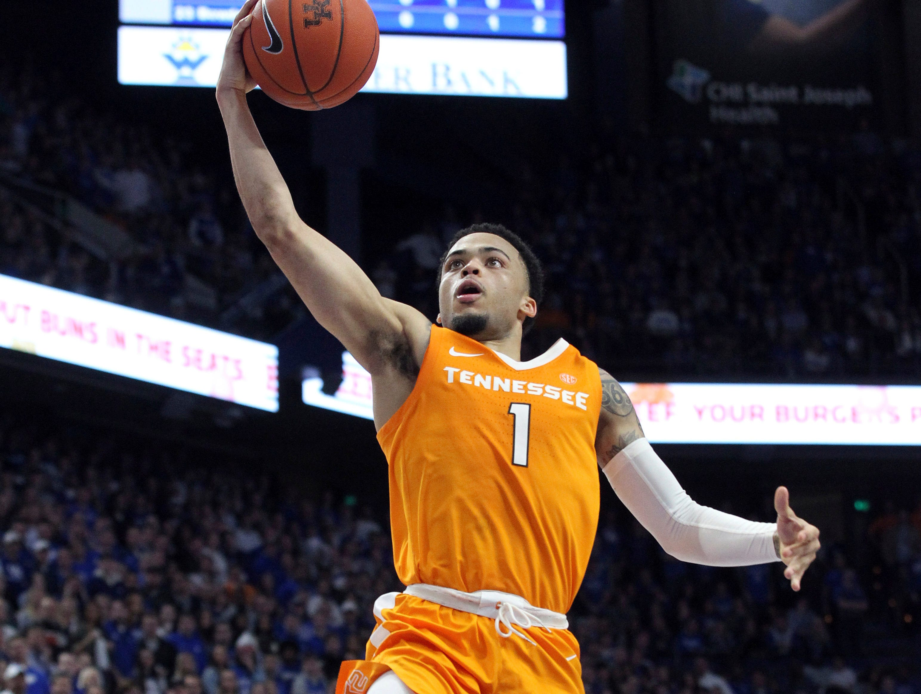 Tennessee's Lamonte Turner shoots during the second half of an NCAA college basketball game against Kentucky in Lexington, Ky., Saturday, Feb. 16, 2019. Kentucky won 86-69. (AP Photo/James Crisp)