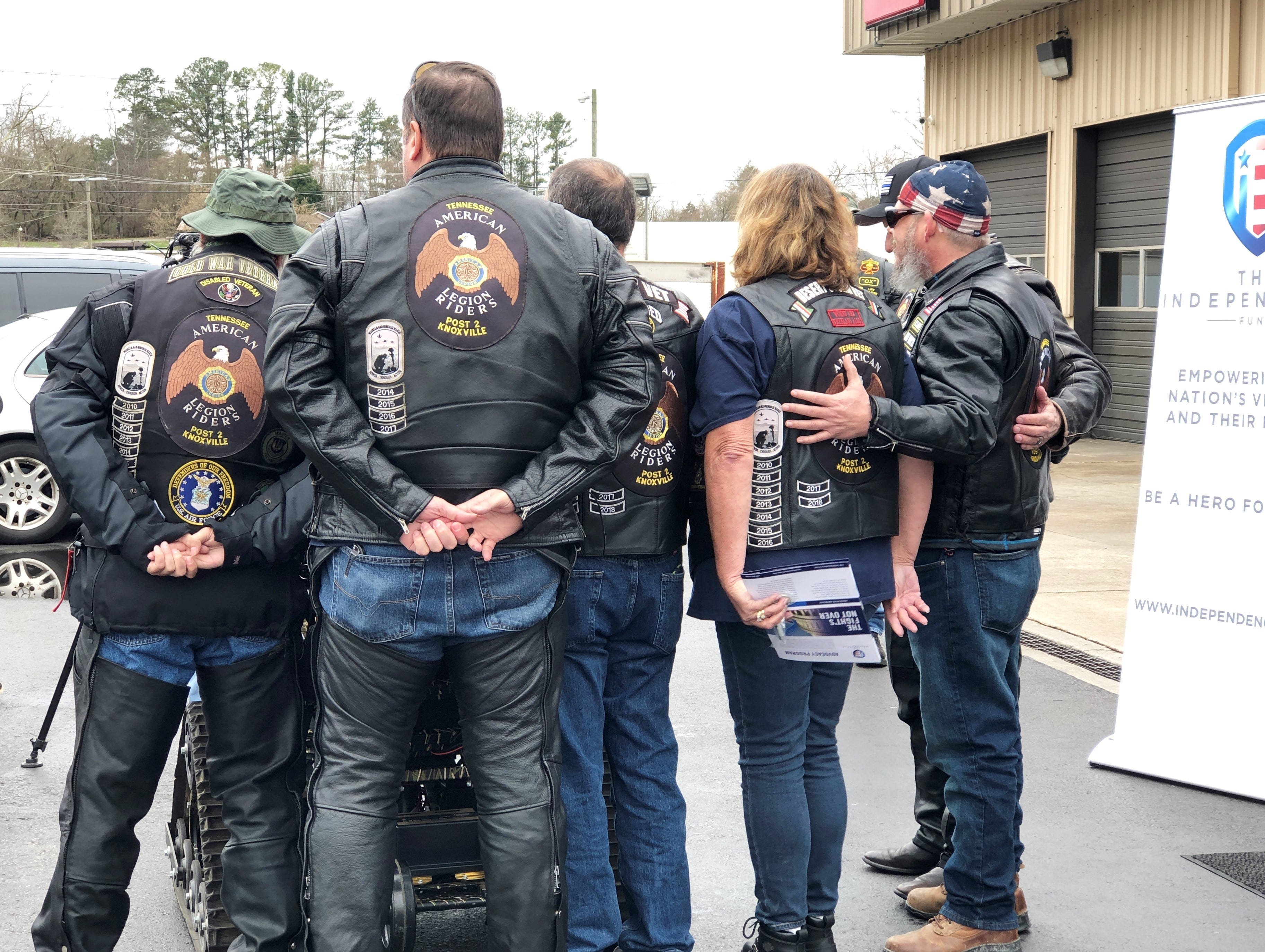 American Legion Riders' Knoxville Charter at the presentation of an all-terrain wheelchair to combat veteran and medically retired U.S. Army Staff Sgt. Dameon Berry at Halls Service Center on Feb. 16.