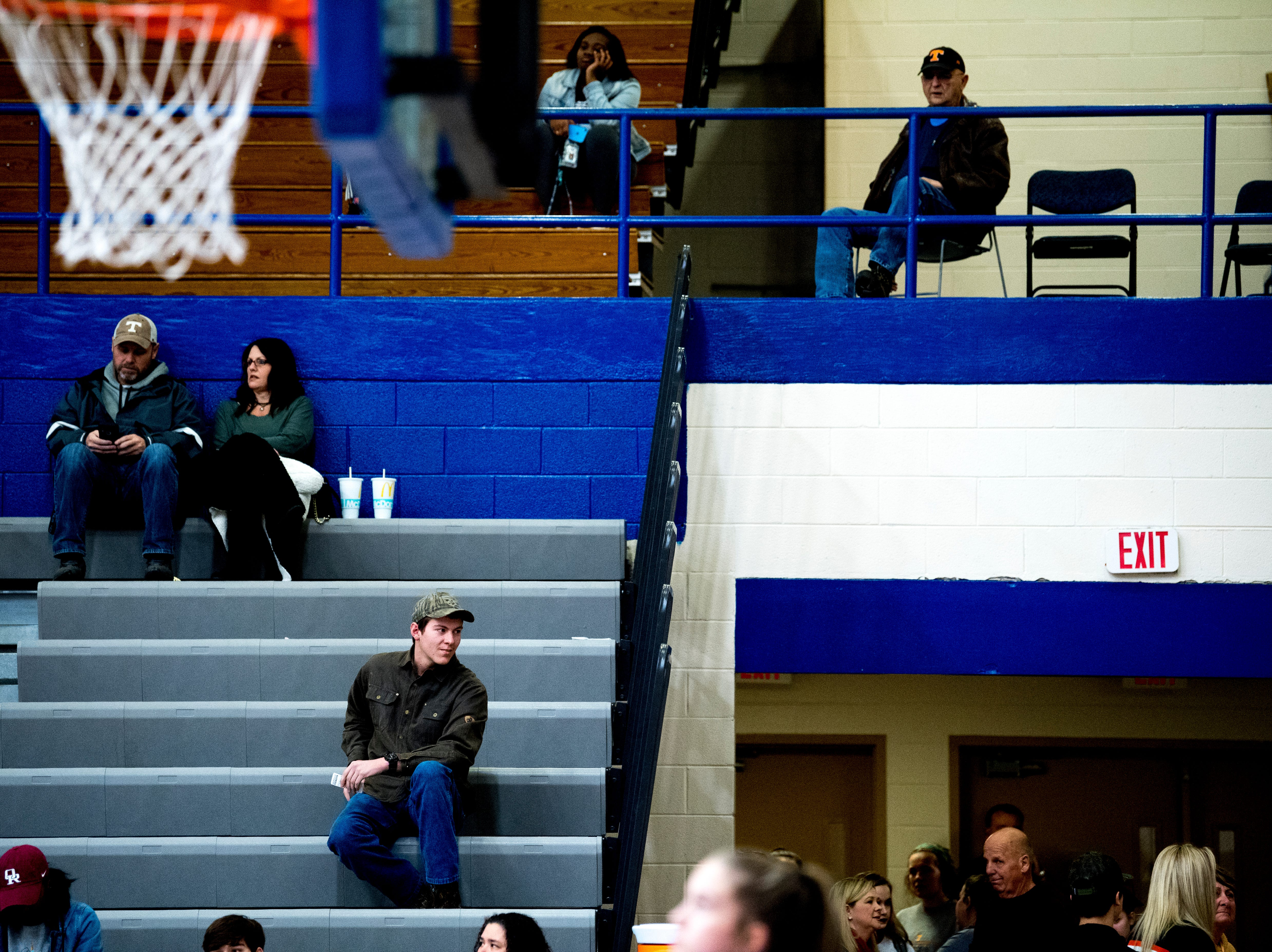 Fans find their seats during a semifinal game at Karns High School in Knoxville, Tennessee on Saturday, February 16, 2019.