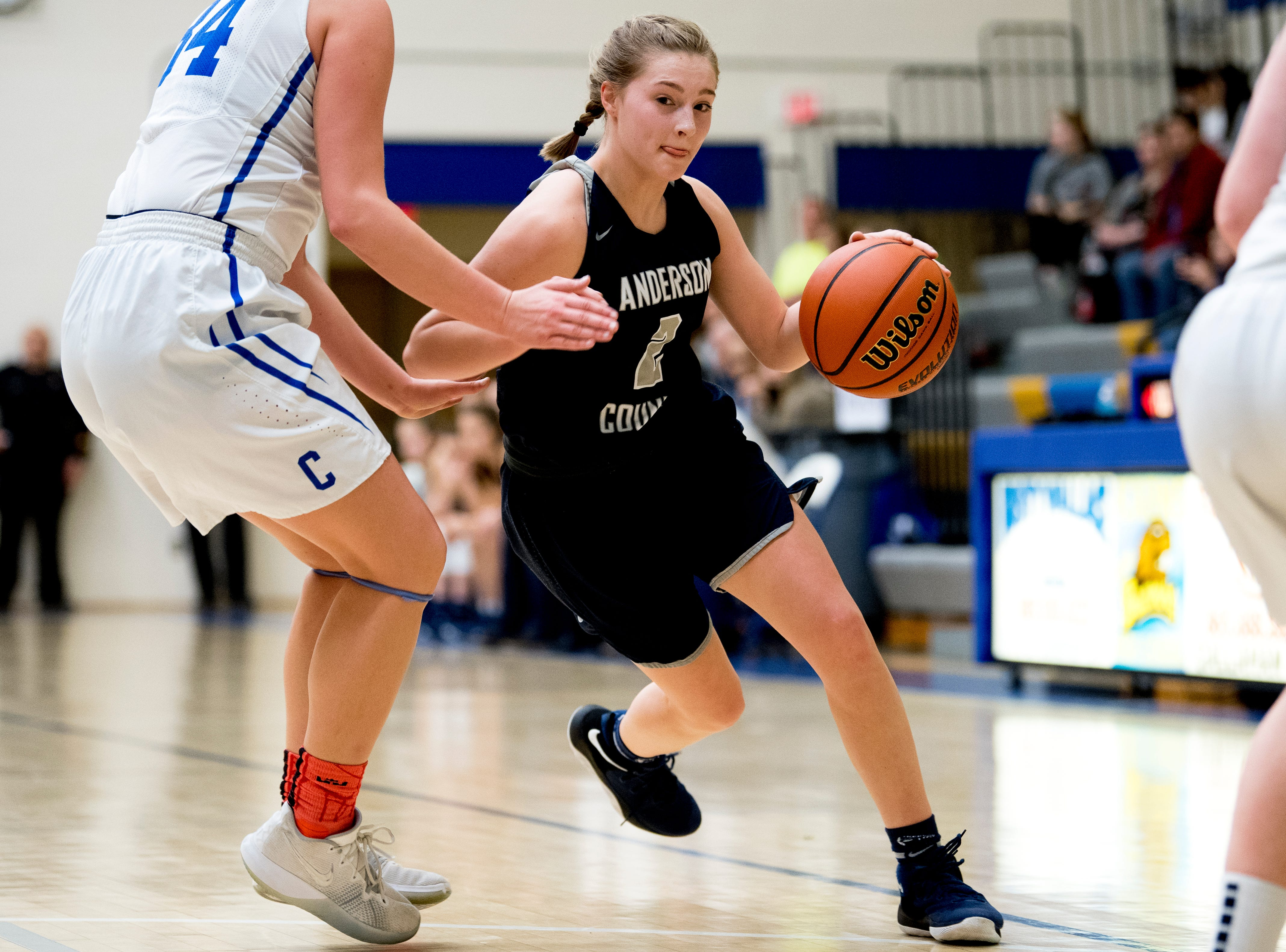Anderson County's Shae Berry (2) dribbles the ball during a game between semifinal game between Anderson County and Campbell County at Karns High School in Knoxville, Tennessee on Saturday, February 16, 2019.